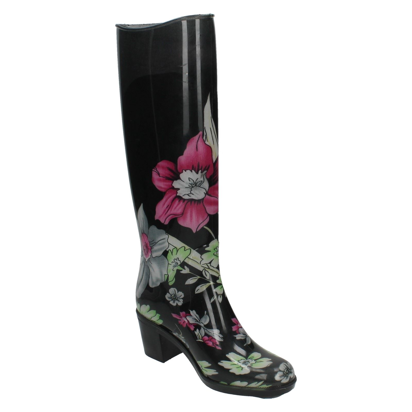 damen spot on mit absatz gummistiefel mit floral design ebay. Black Bedroom Furniture Sets. Home Design Ideas