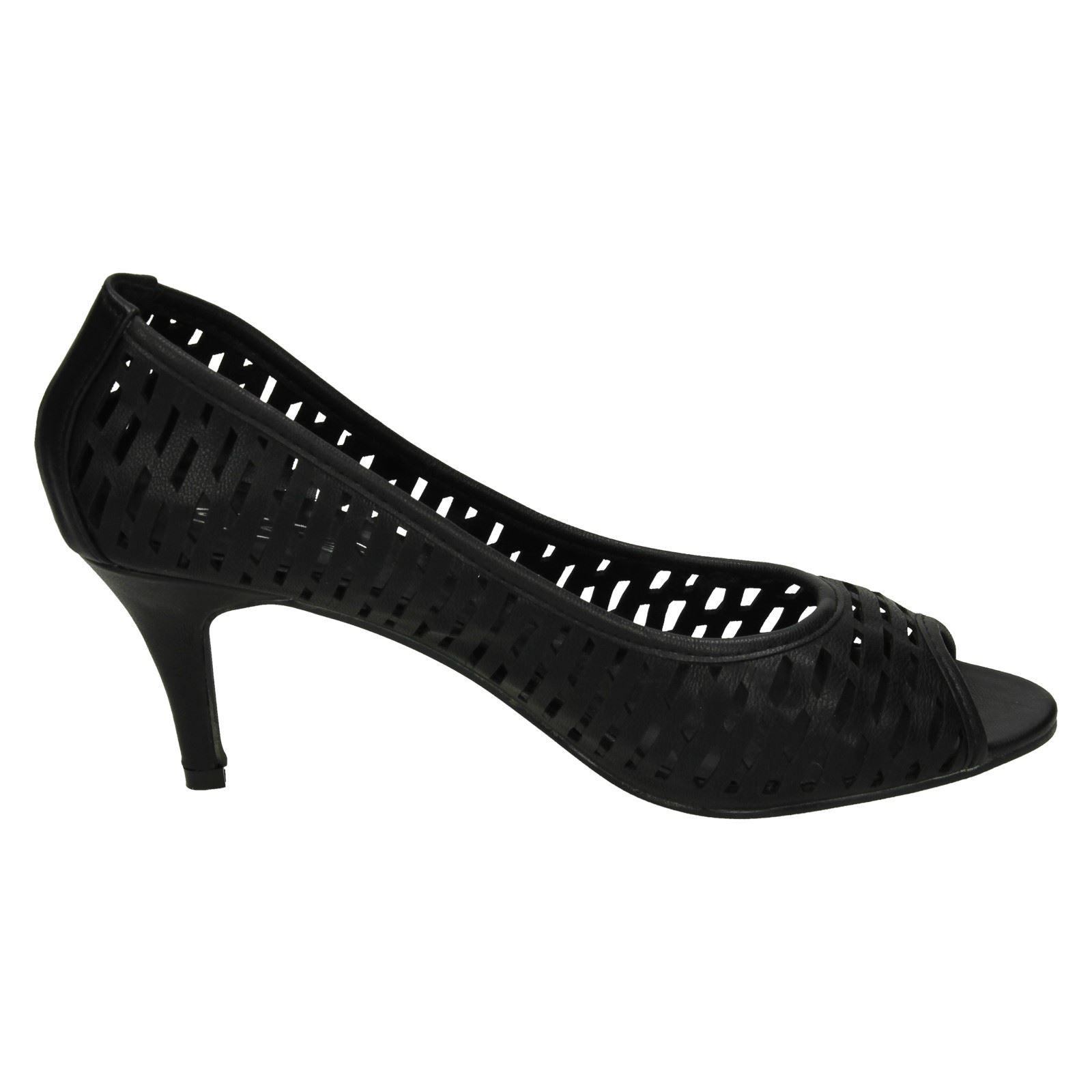 Donna-Spot-On-con-tacchi-punta-aperta-Scarpe-col-tacco