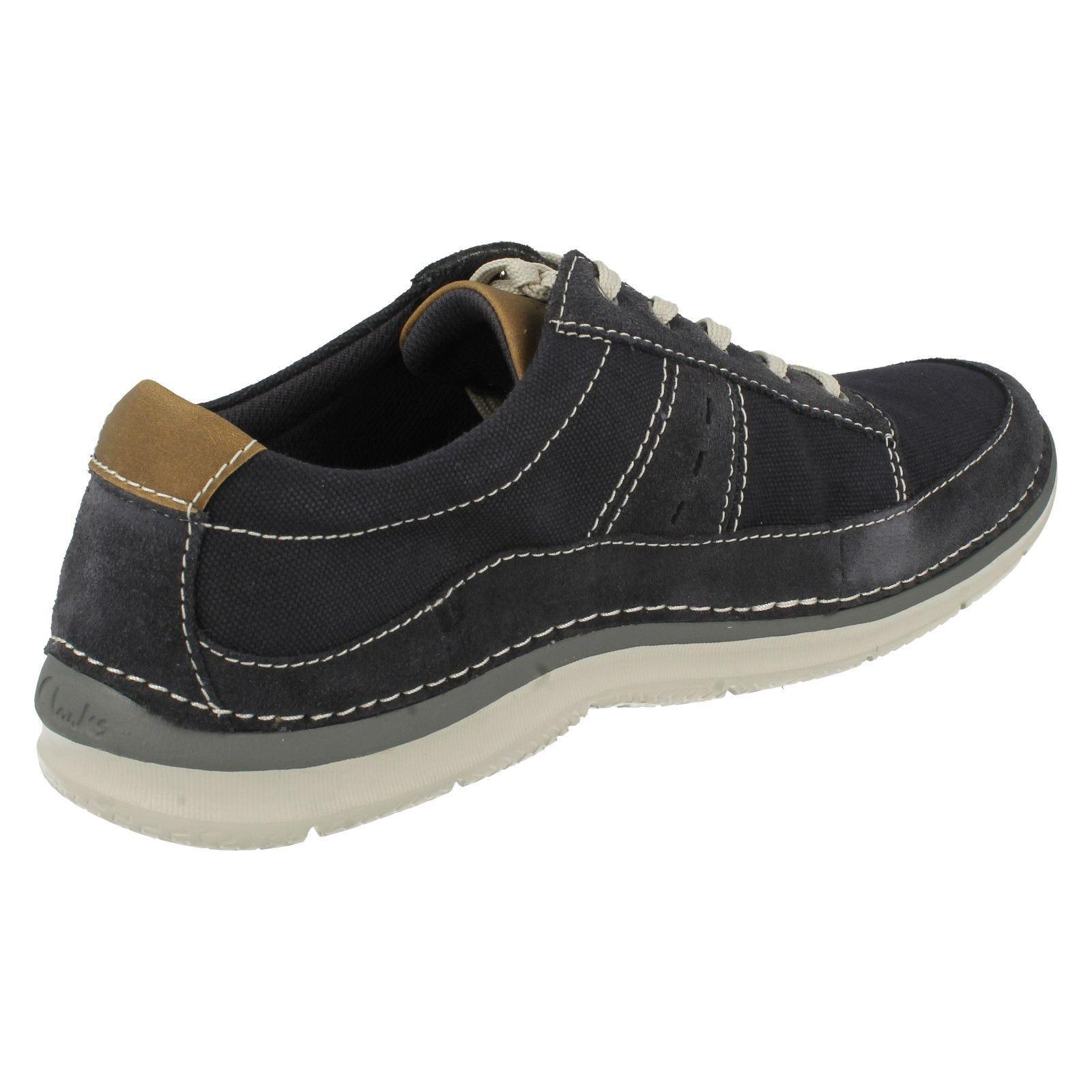 Mens Clarks Casual Canvas Shoes Ripton Plain Olive  Uk