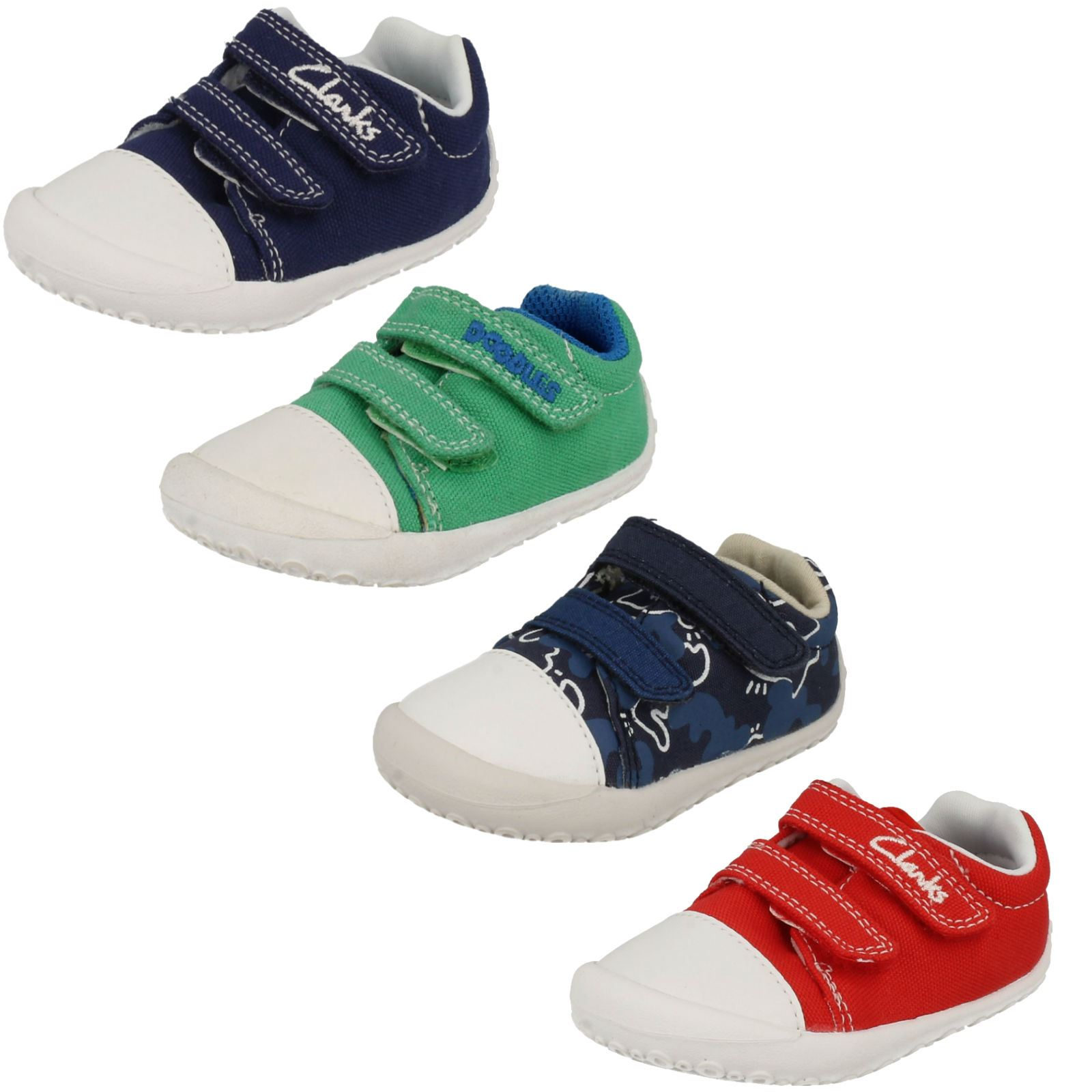 INFANT BOYS CLARKS LEATHER RIPTAPE STRAP CASUAL SPORTS TRAINERS SHOES ALERT