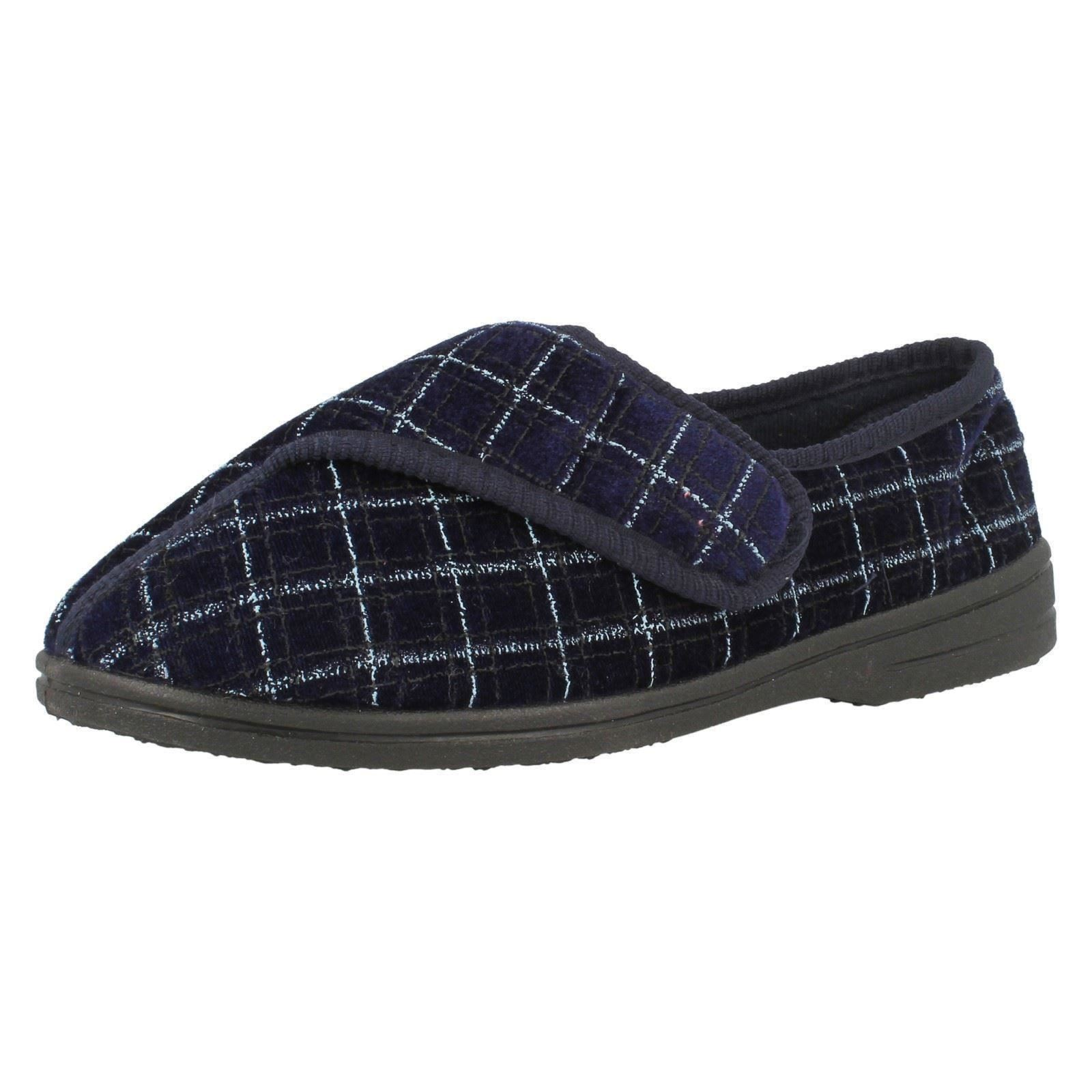 Spot On 2010-37 Mens Navy Patterned Hook/Loop Washable Slippers