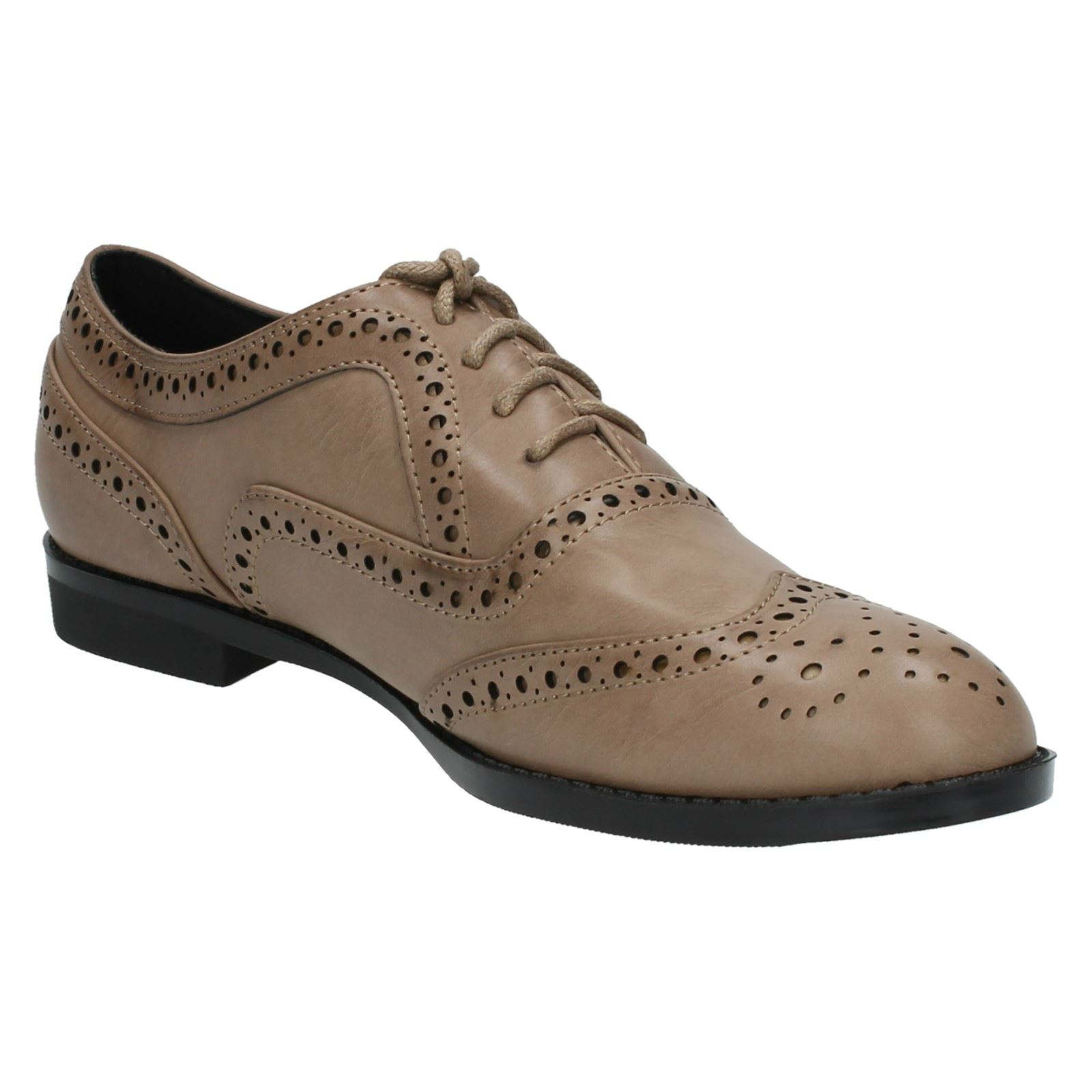 Ladies Spot On Casual Brogue Shoes