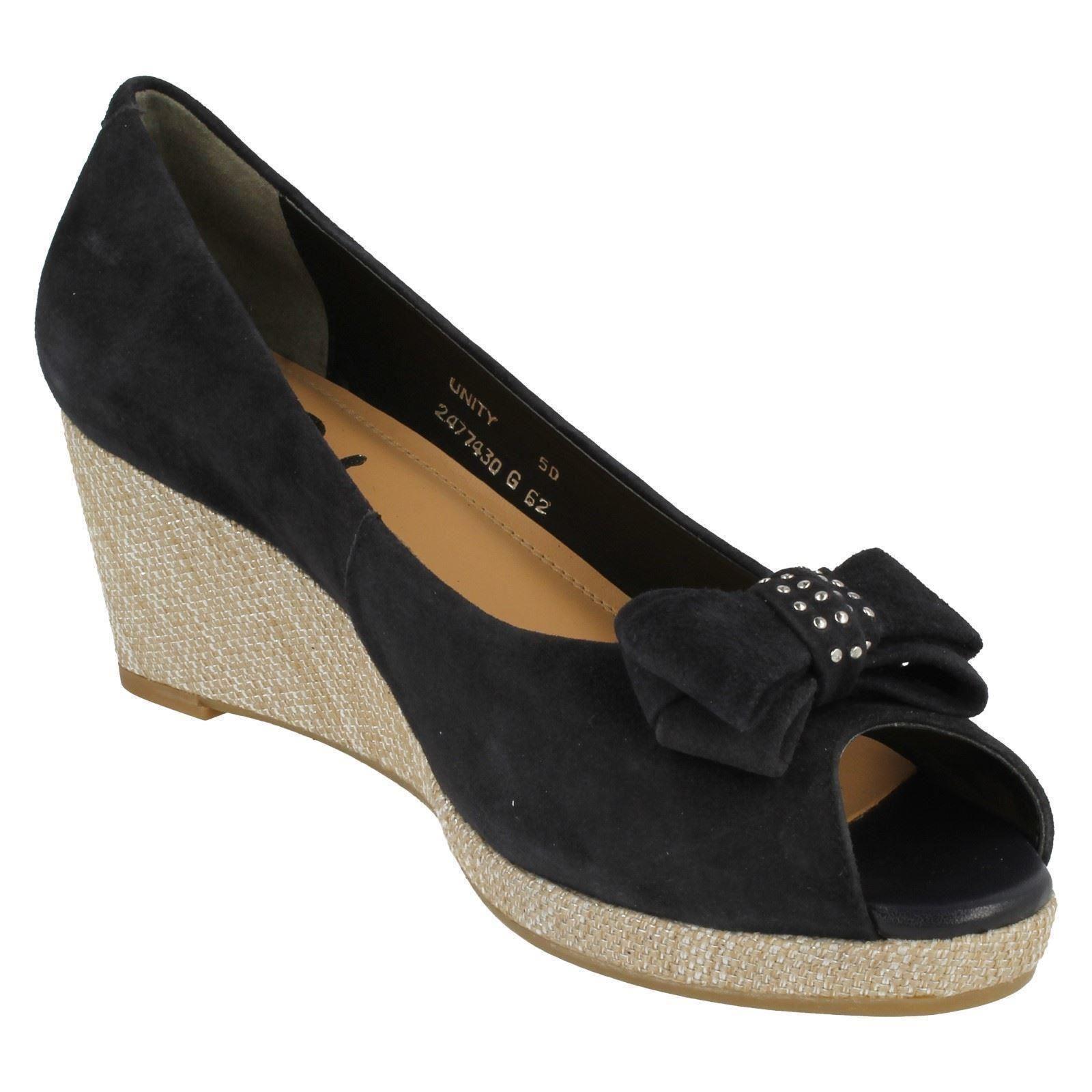 Señoras van dal Zapatos Slip On Cuña De Punta Abierta Zapatos dal Unity a9f9a1
