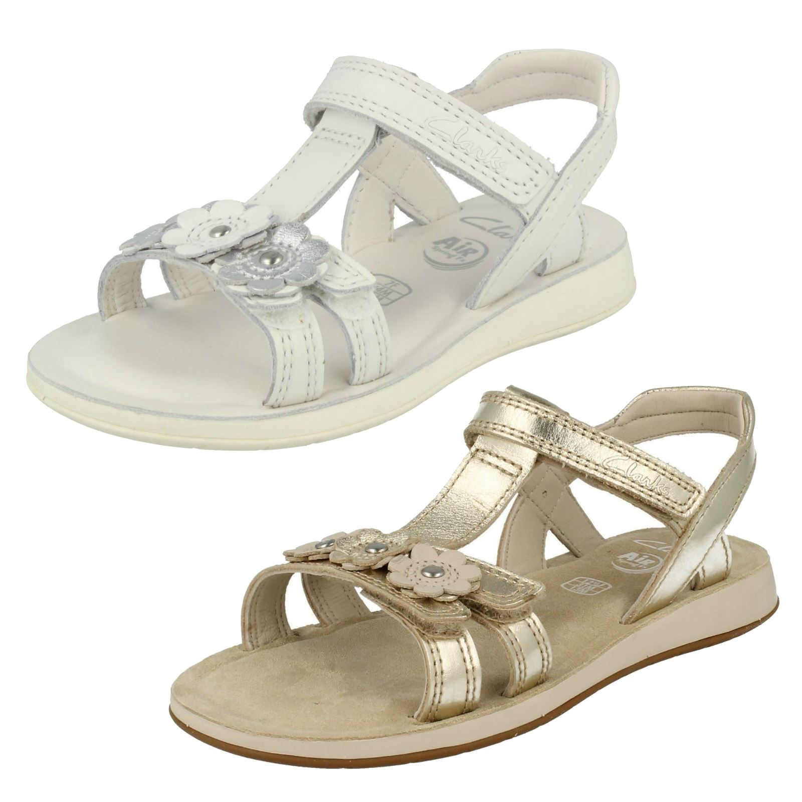 60c0d453dae Details about Girls Clarks Sea Sally Gladiator Style Sandals With Flower  Detail