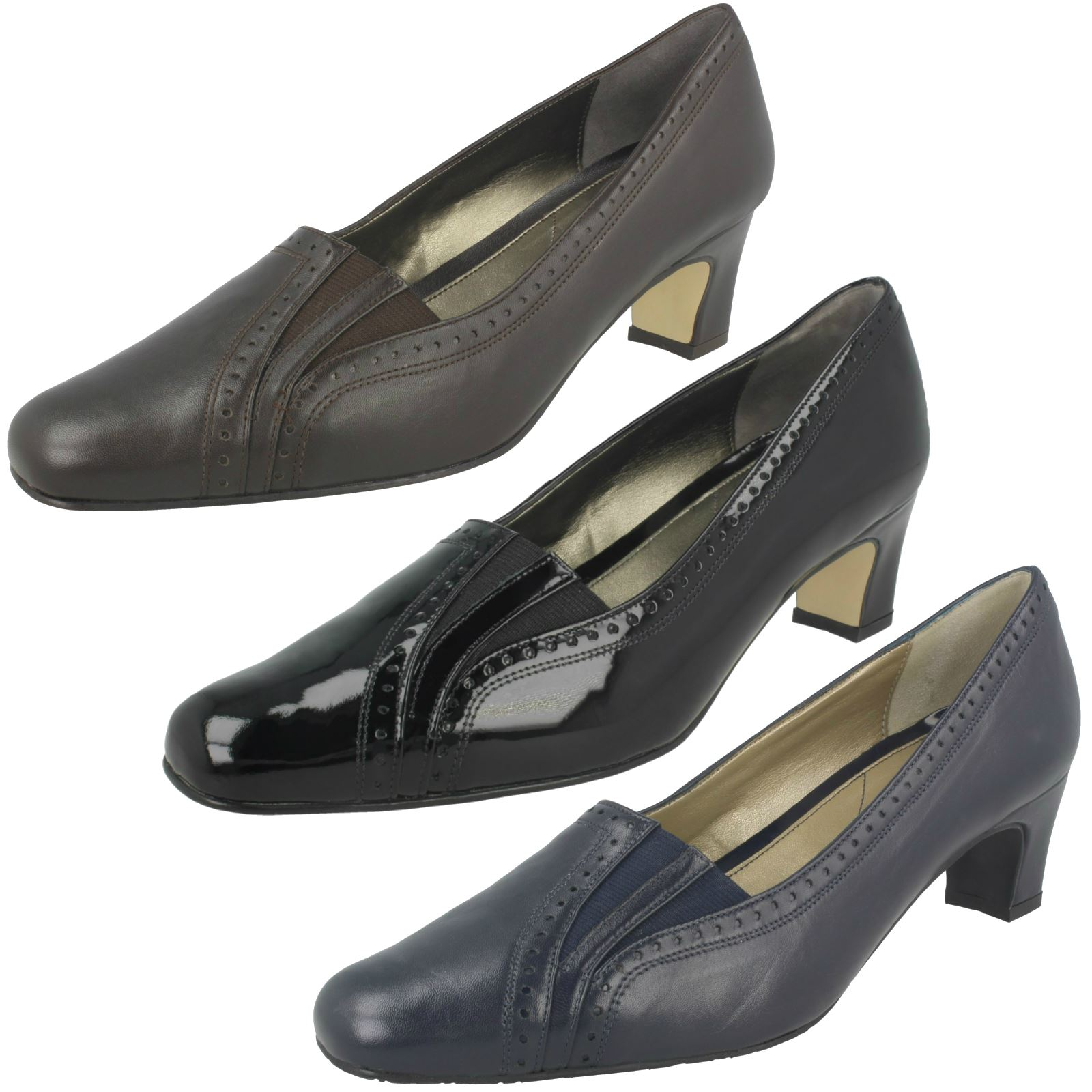 ec2efd29b28 Details about Ladies Van Dal Extra Wide Fit Slip On Heeled Patent Leather  Shoes Winona