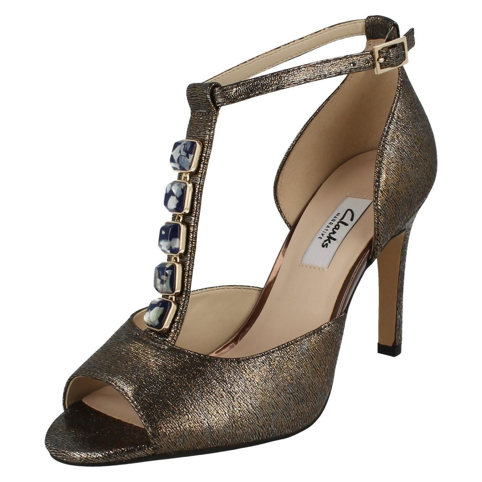ad9a8f51e7e170 Ladies Clarks T-bar Occasion Wear Sandals Curtain Crush Bronze Metallic 8  UK D. About this product. Picture 1 of 10  Picture 2 of 10 ...