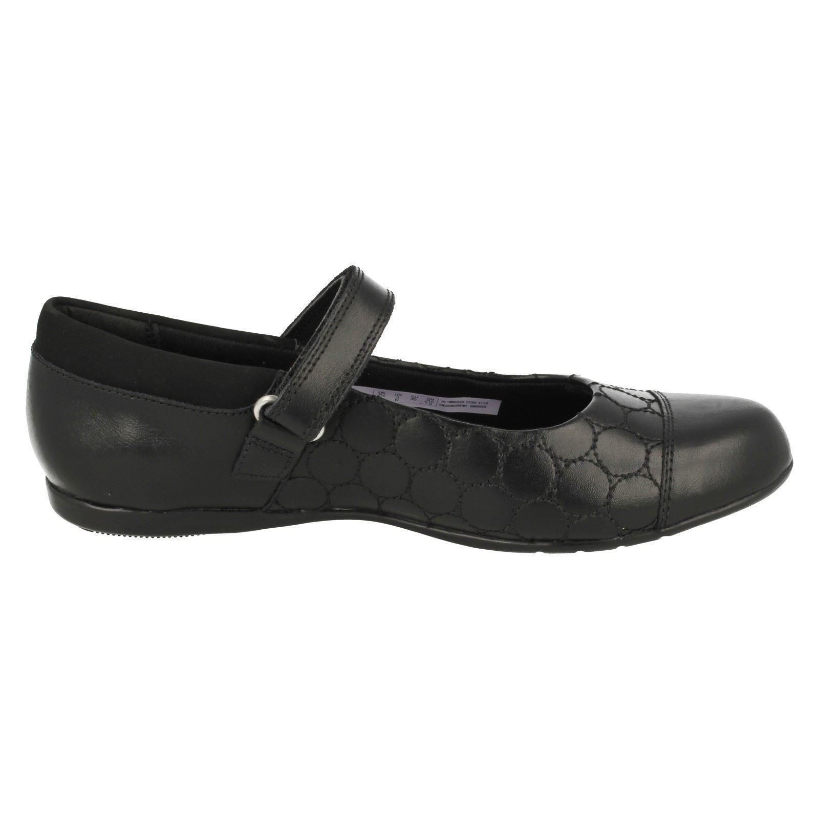 Girls Clarks Rip Tape Fastening Leather School Shoes Dance Buzz