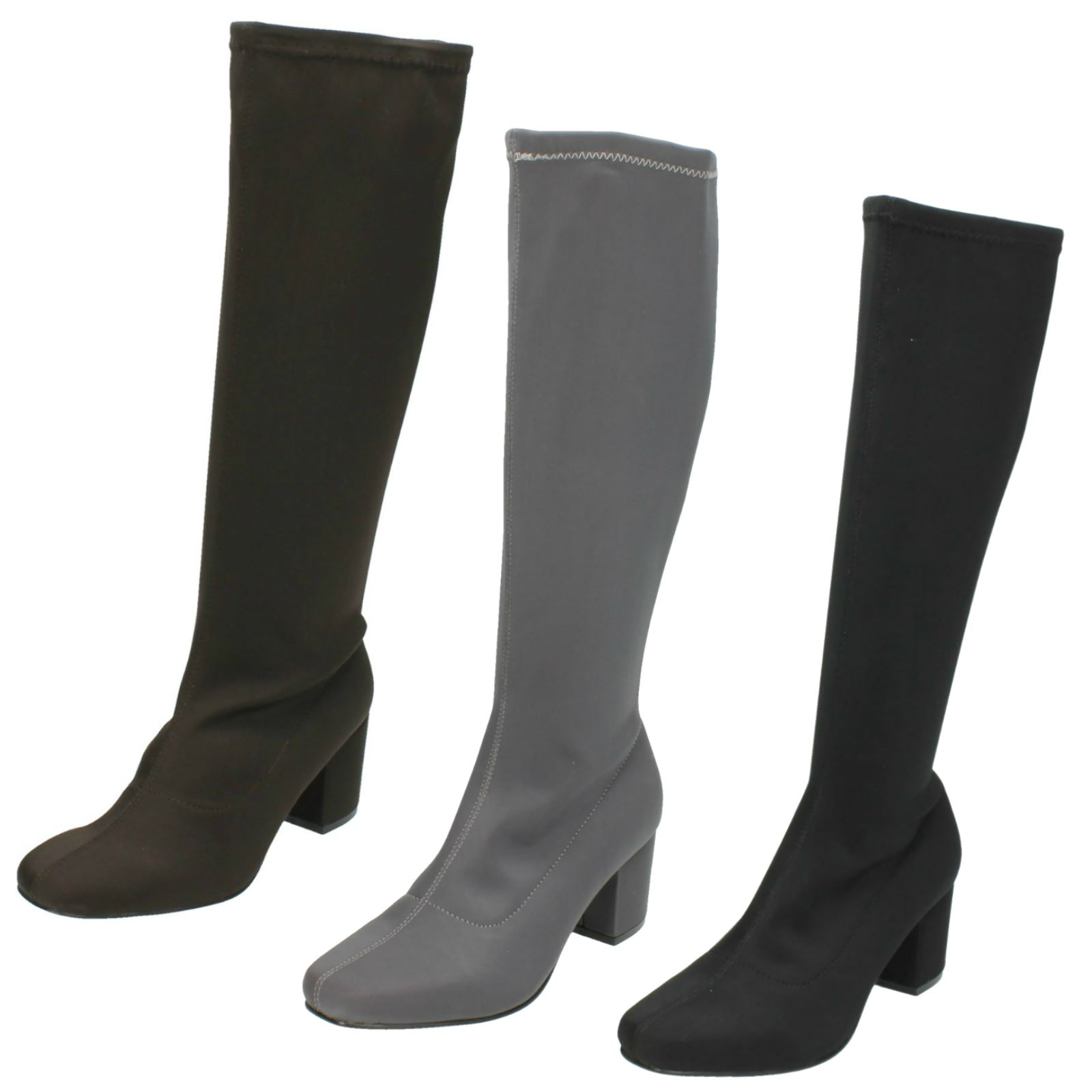Ladies Spot On /'Knee High Boots/'