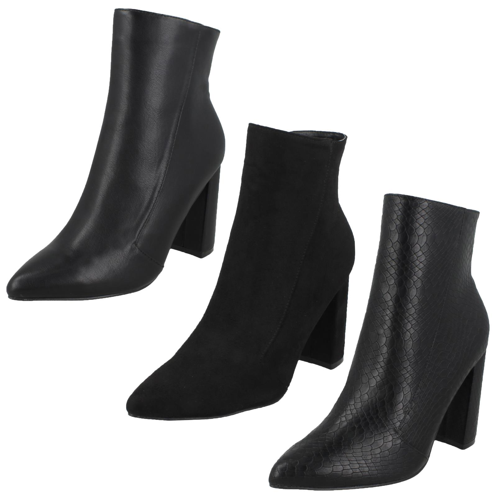 Spot On Womens//Ladies Zip Up Ankle Boots With Tassel Detail KM597