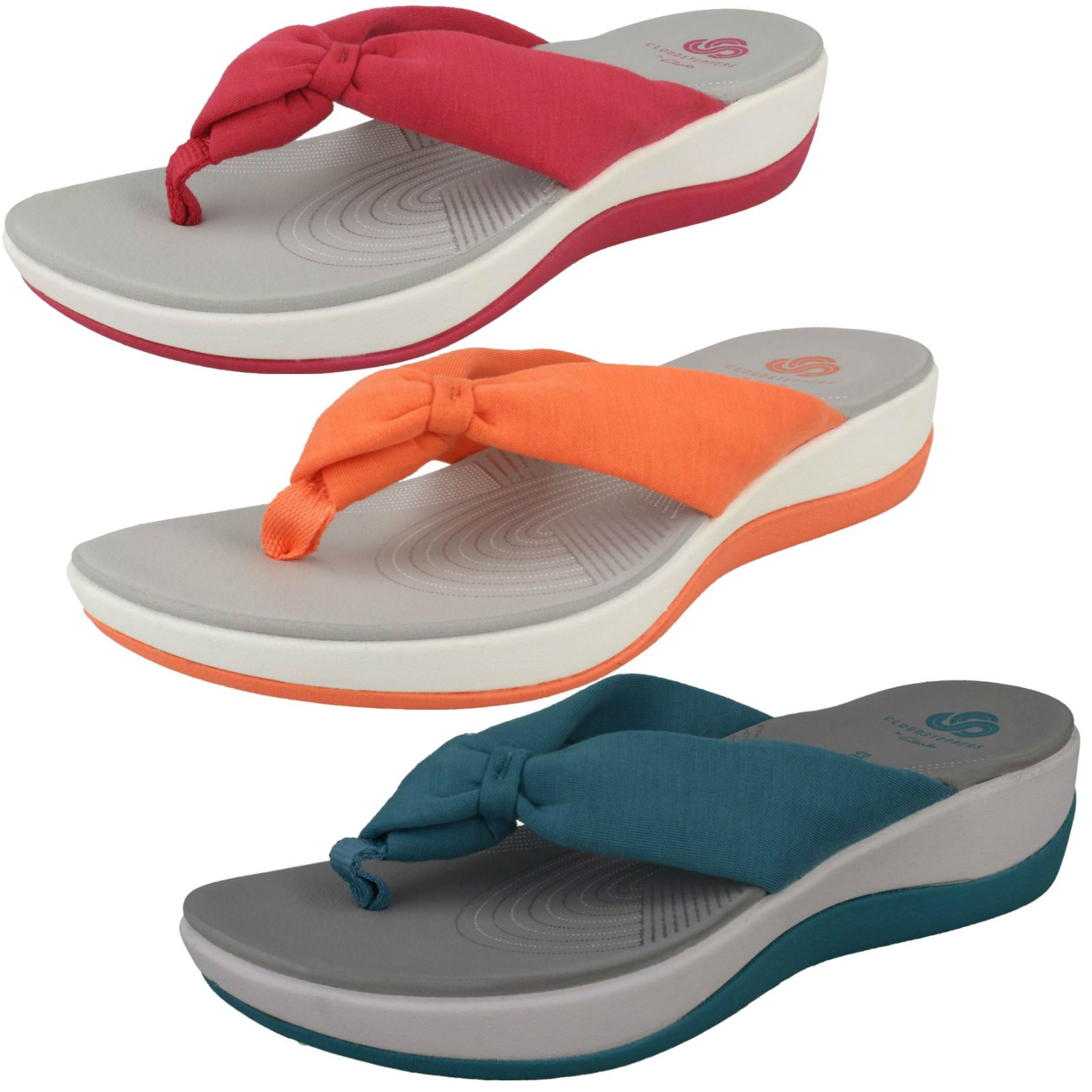 7bf296a43a8 Ladies Clarks Cloud Steppers Toe Post Sandals  Arla Glison