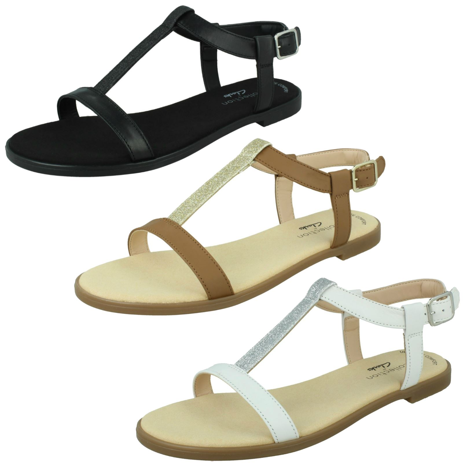 Ladies Clarks Rounded Open Toe Buckled