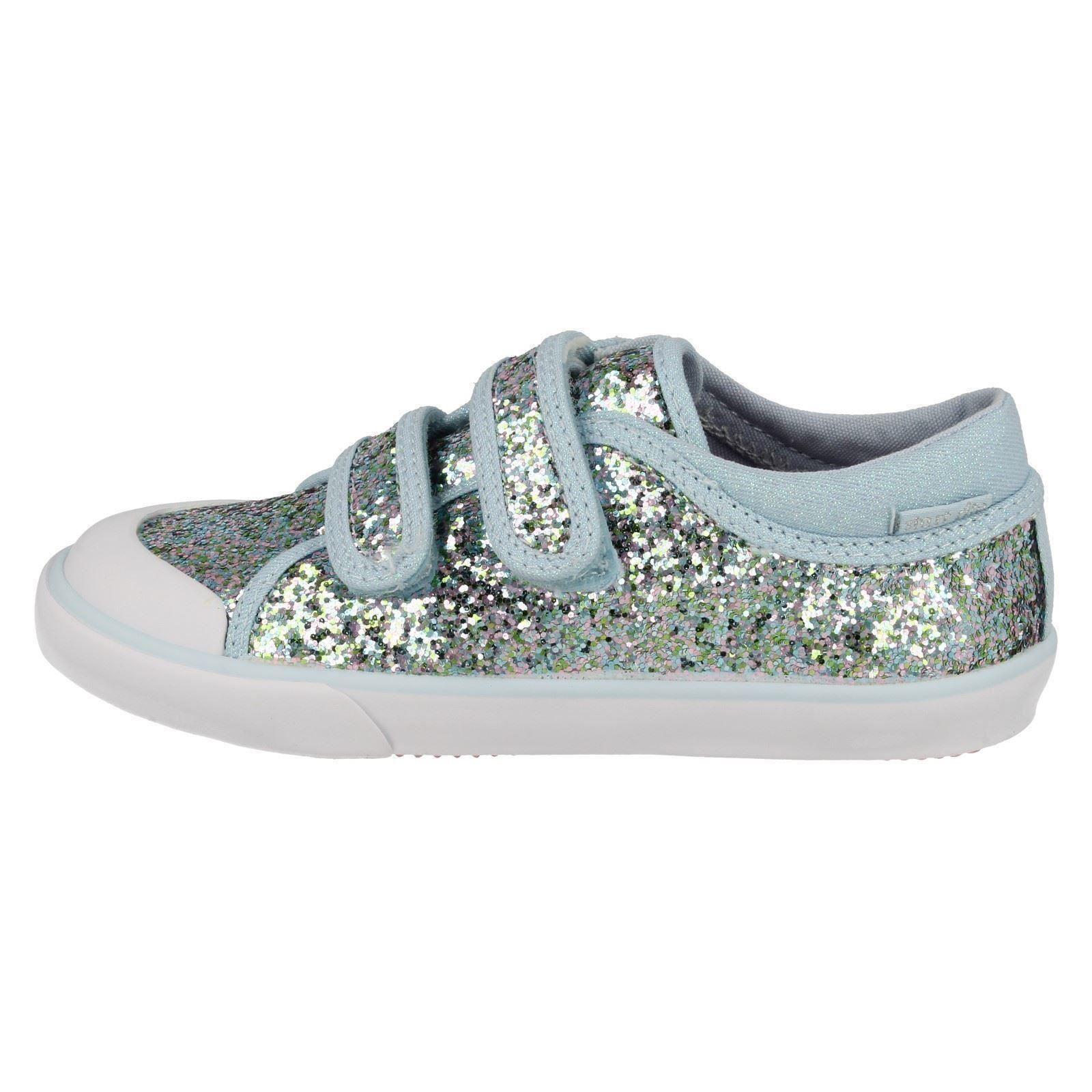 Iridescent Startrite Girls Glitter Canvas Pumps