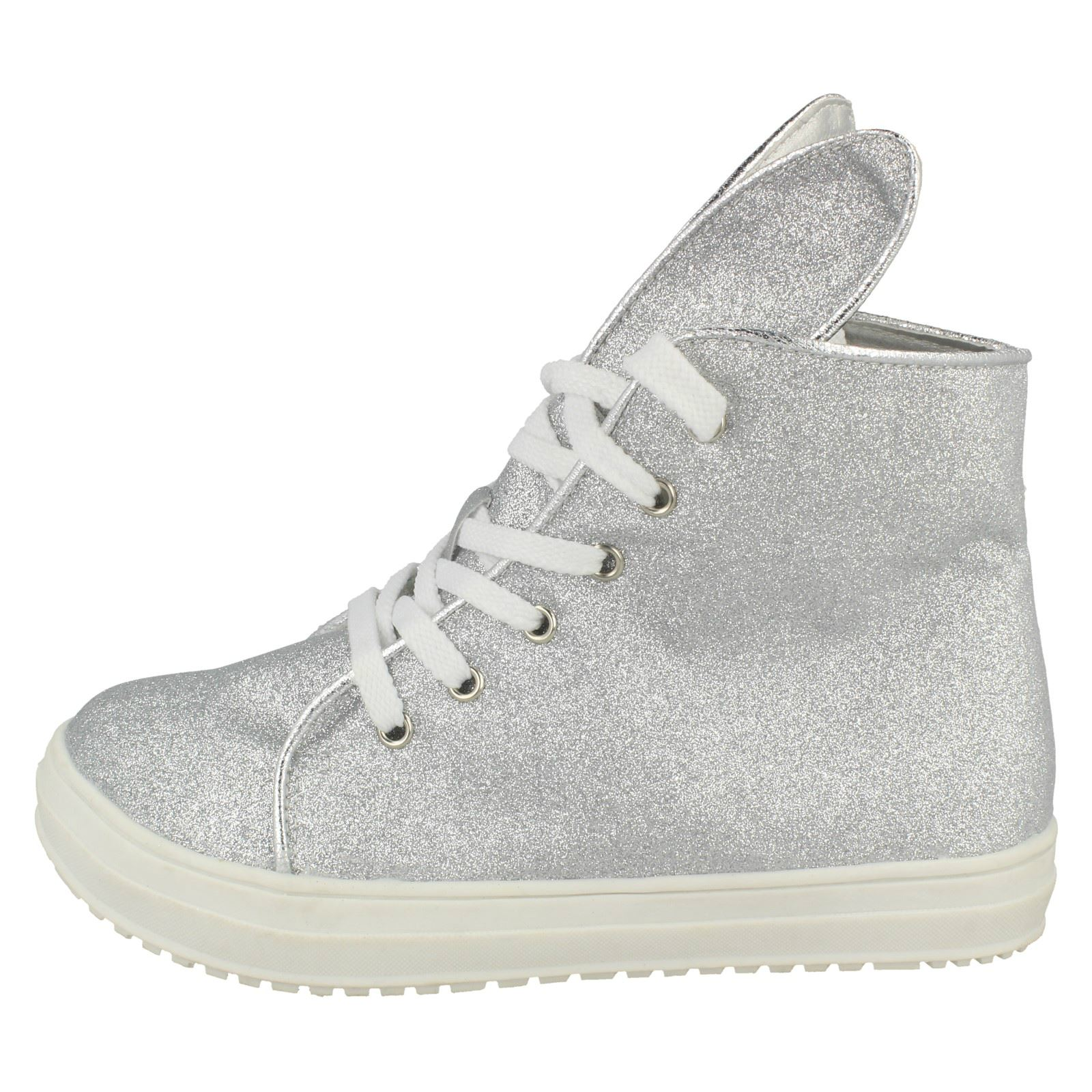 Girls Spot On Hi-Top Casual Glitter Trainers