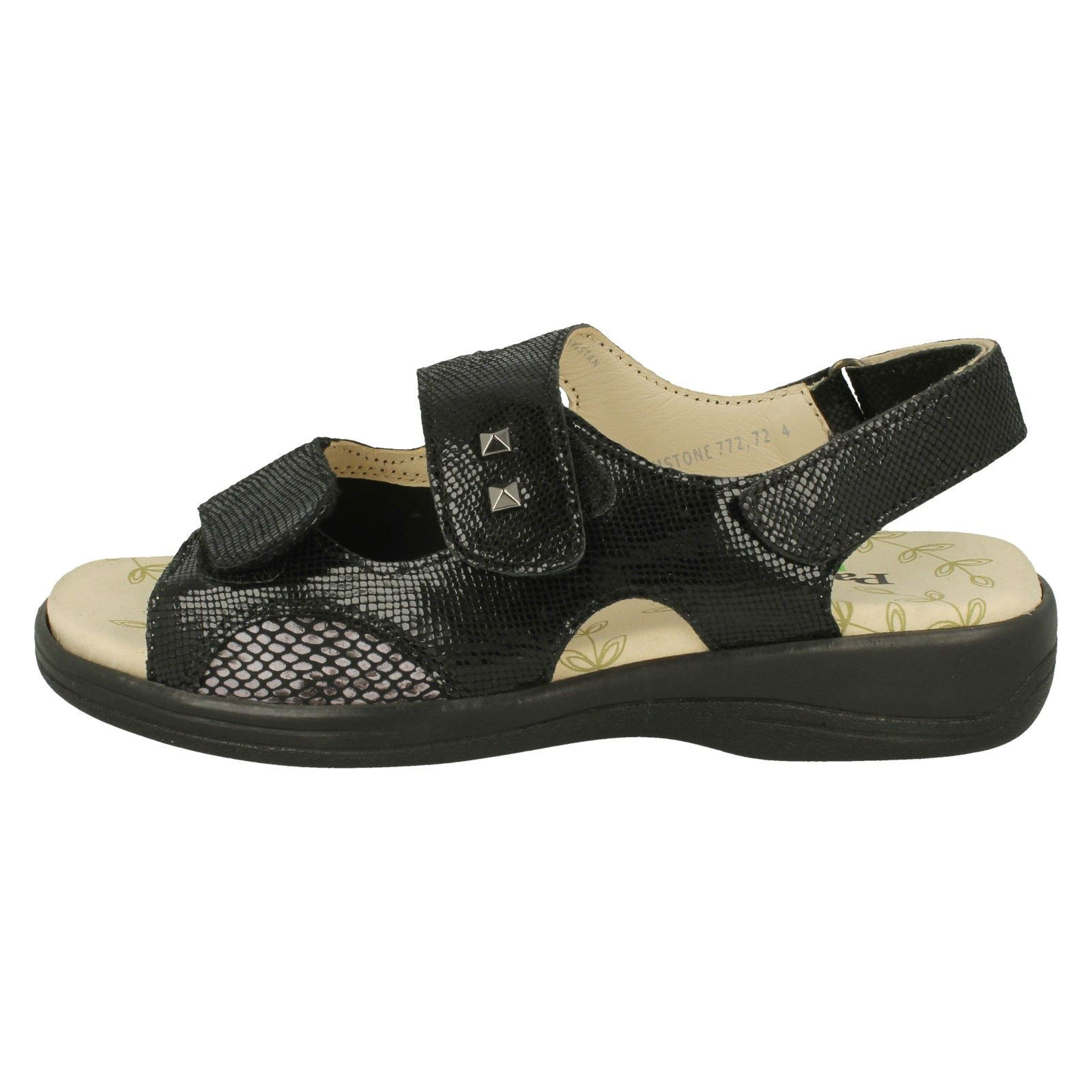 black Hook Leather Loop Fastening Sandals Ladies Open Padders Reptile Toe amp; 'gemstone' Black qw6OX7x5