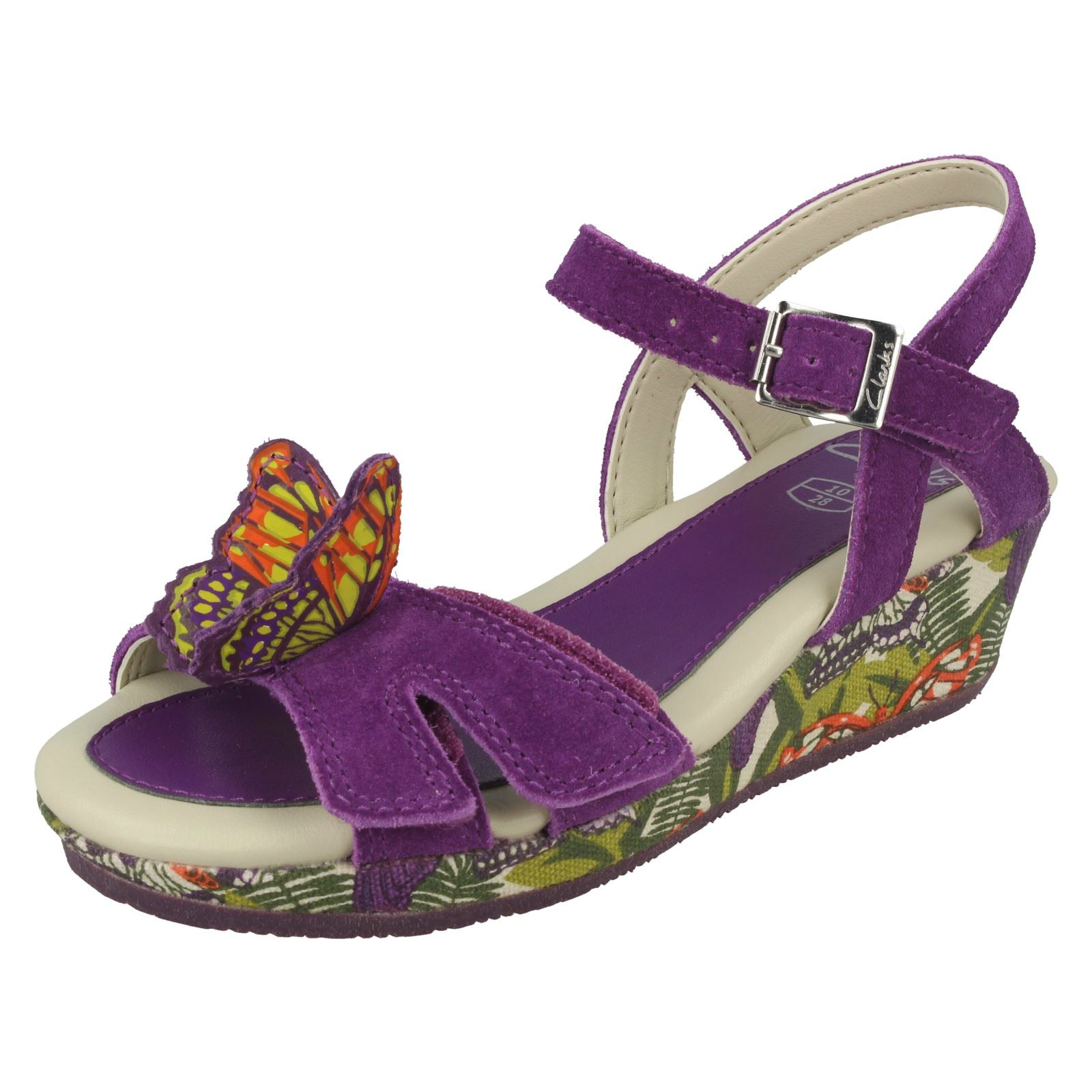 Clarks Girls Harpy Fly Purple Suede Leather Smart Wedge Butterfly Sandals