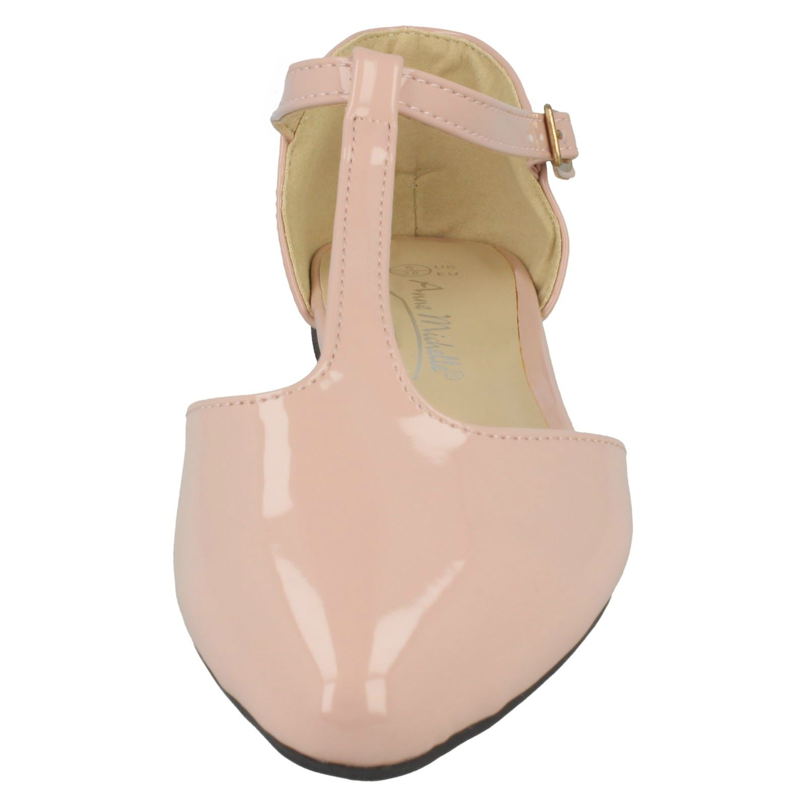 Ladies Anne Michelle Pointed Toe T-Bar /'Flats/'