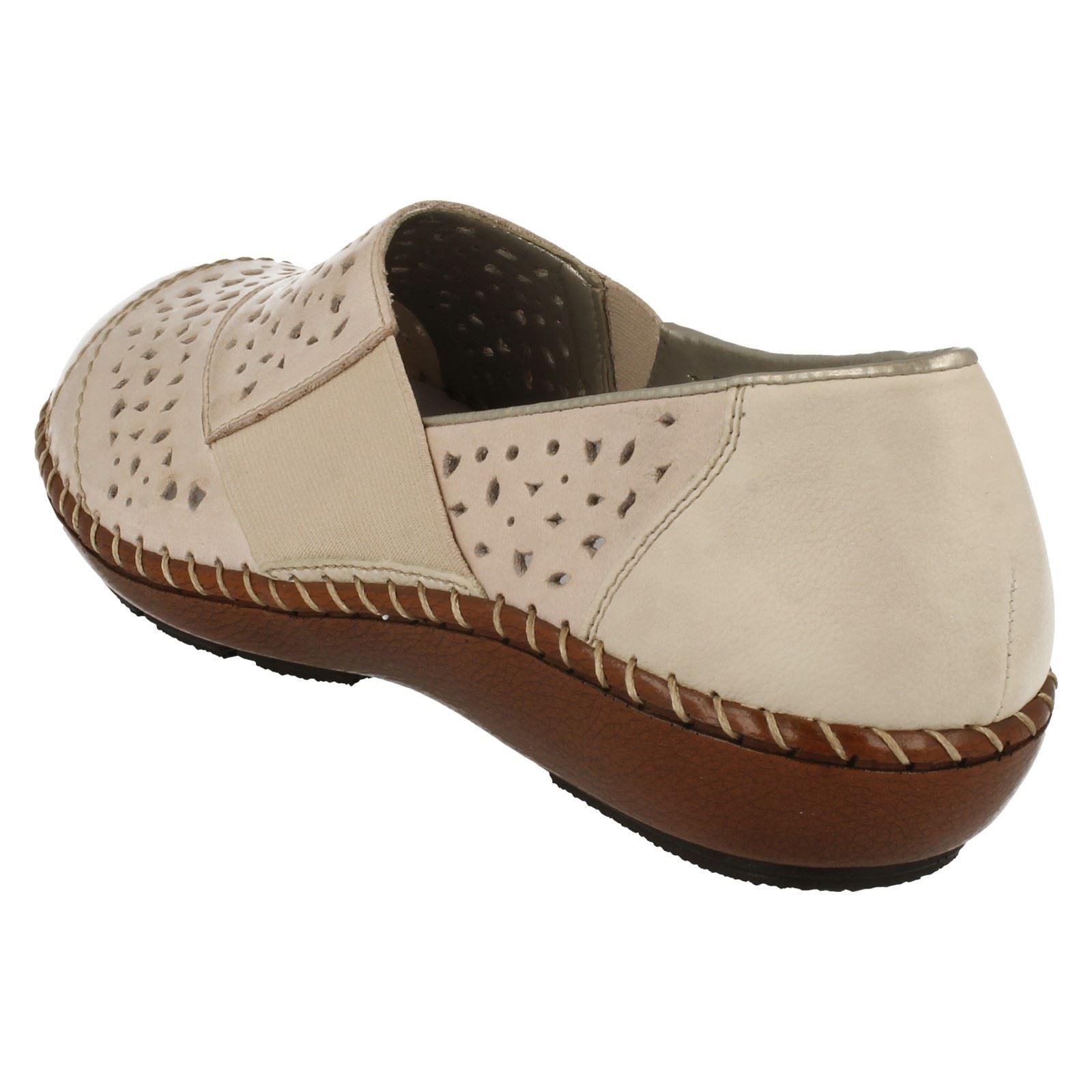 Ladies Rieker Slip On Casual Day Shoes 44856 60 Beige