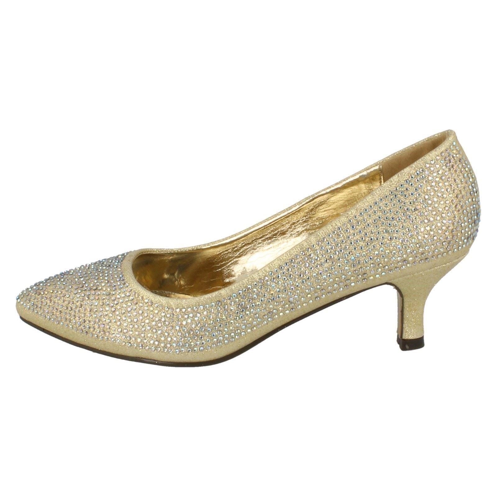 Ladies-Anne-Michelle-Diamante-Low-Heel-Court-Shoes thumbnail 16
