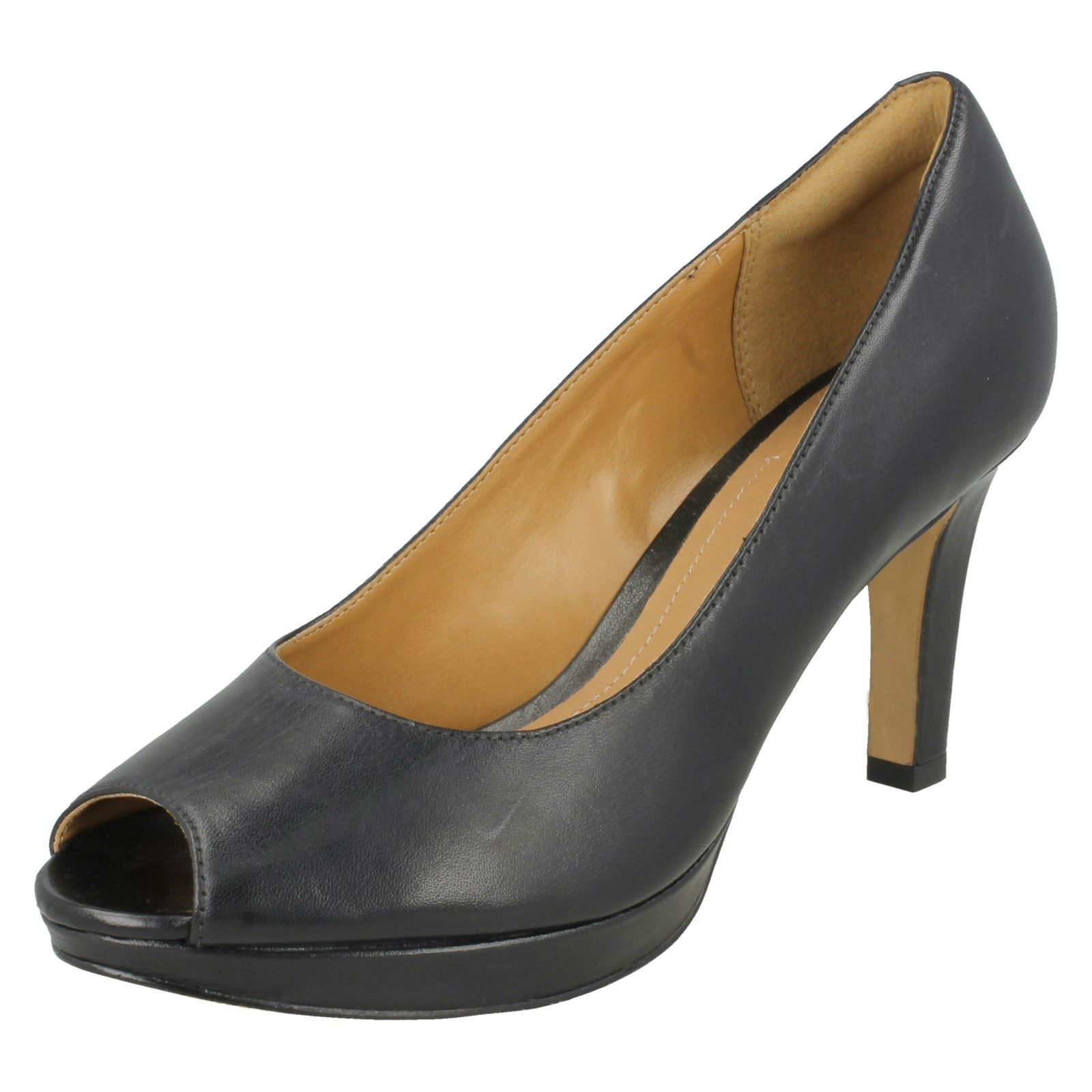Clarks Ladies Peep Heels Toe Smart Heels Peep Delsie Britta 62de7f
