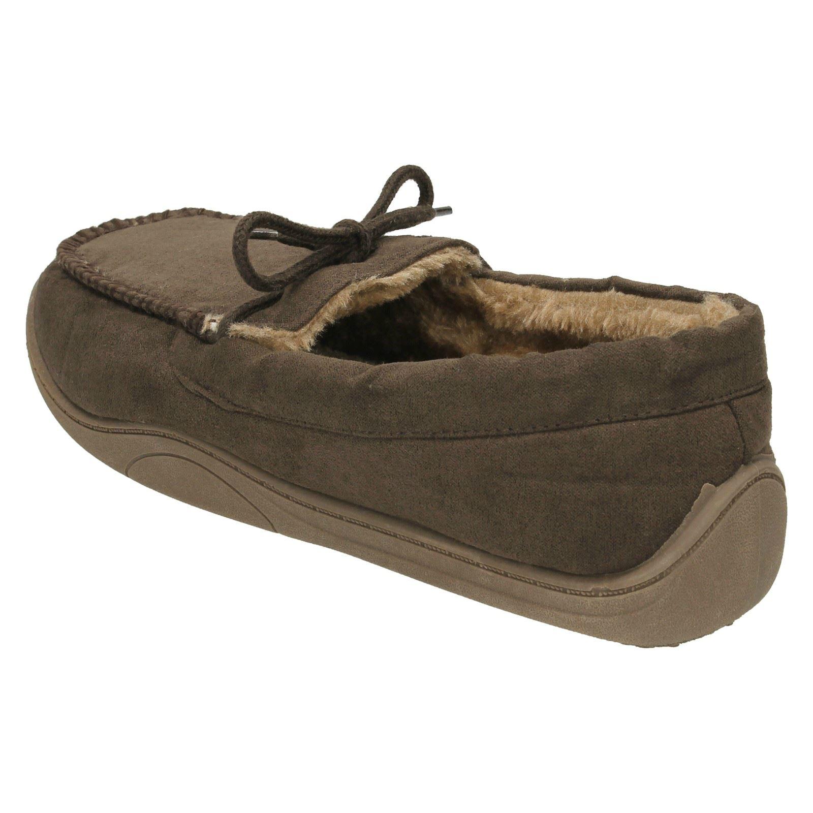 Para Hombre Spot on Mocasin Zapatillas forrado de piel sintética estilo 577453