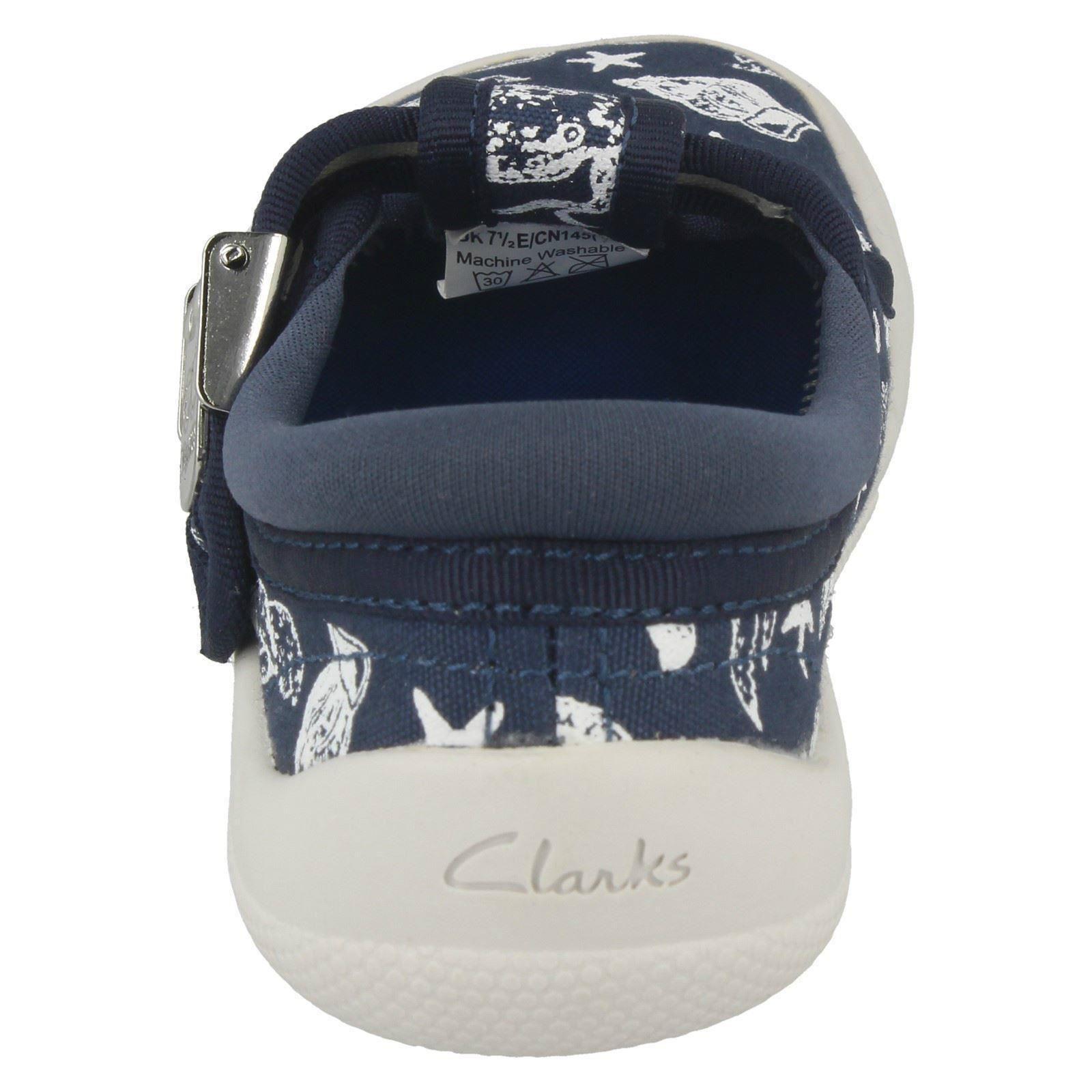 Boys Clarks Summer Canvas Doodles Shoes  ** Briley Sky **