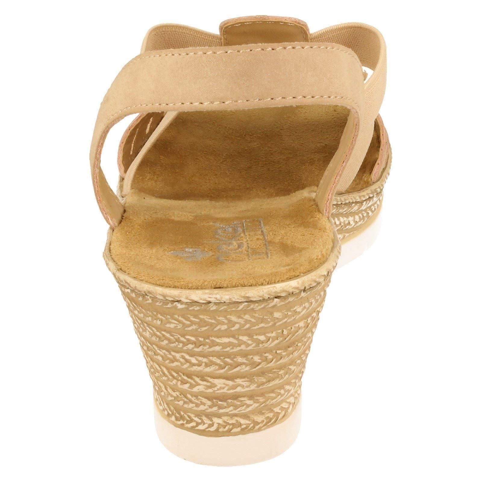 Sandalen Damen beige Keilabsatz mit Rosa 61913 Rieker qq8wPA67