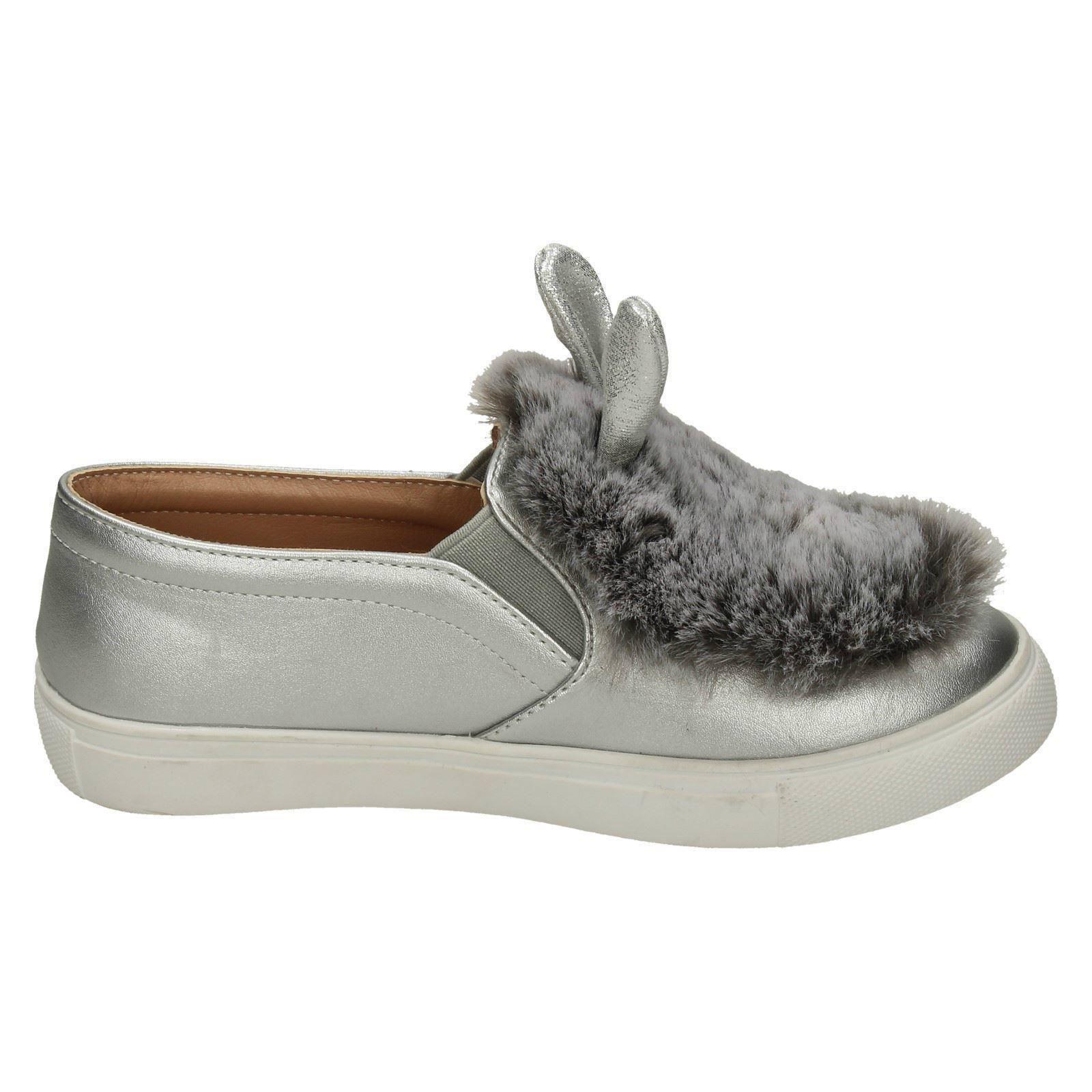 Girls Spot On Fur /& Glitter Bunny Ear /'Shoes/'