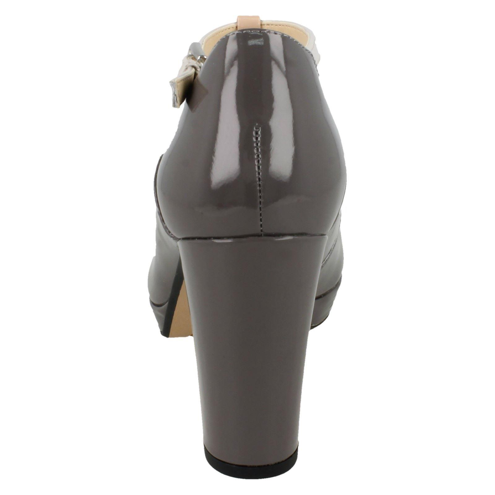 gris Bloque Combi de Heel bar cuero T zapatos Damas Daisy Smart Buckled Dark Patent Clarks Kendra Grey AXzaS