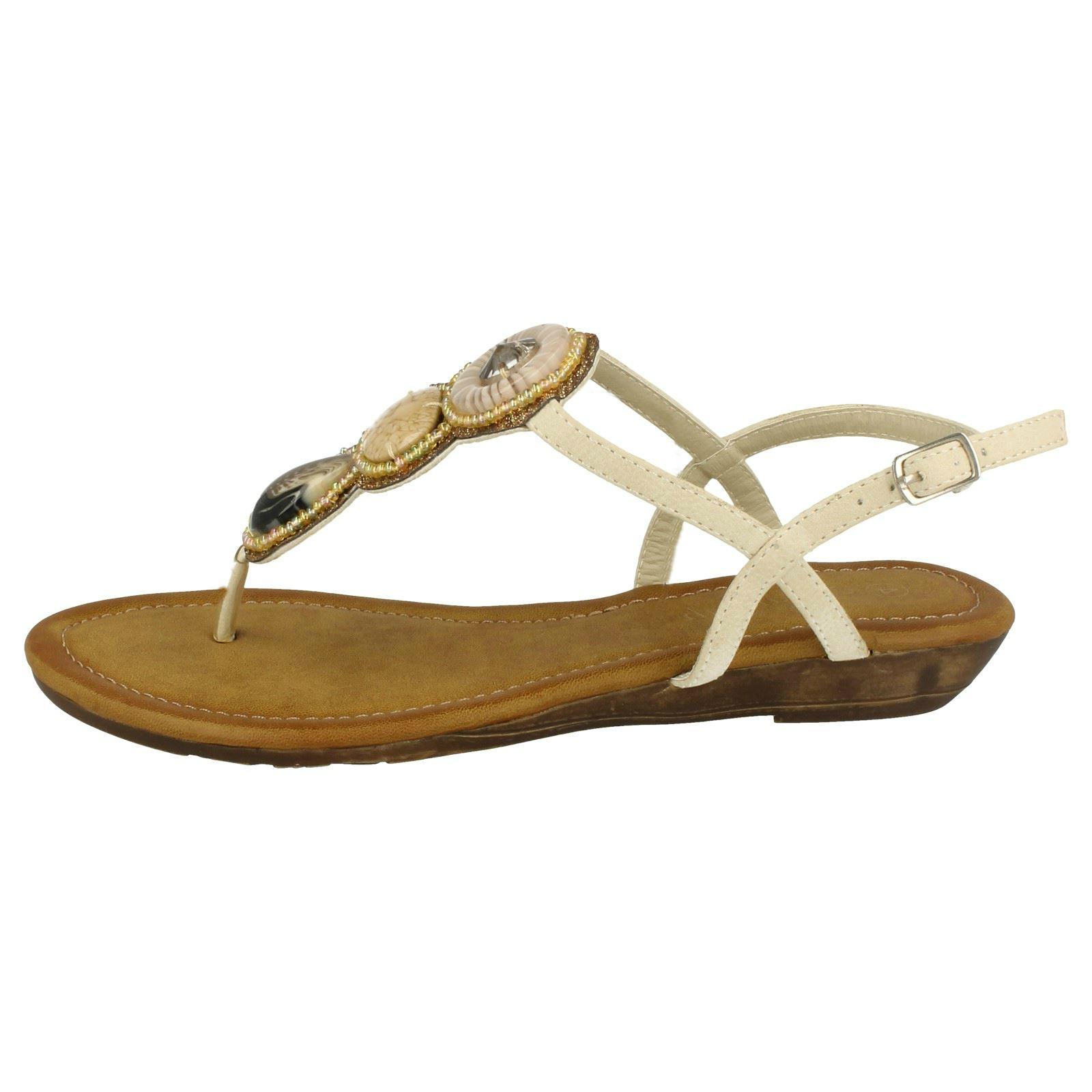 Ladies Savannah Large Stone Toe Post Sandals