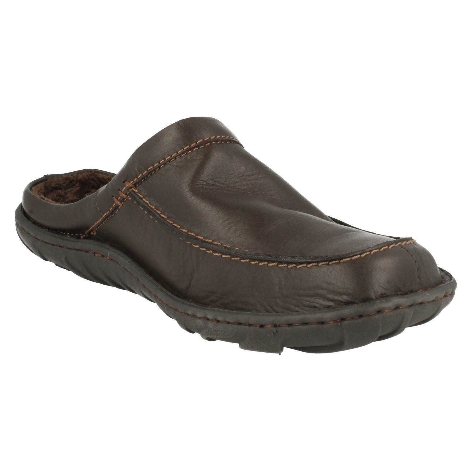 Mens Clarks Leather Slip On Mule Slippers - Kite Vasa