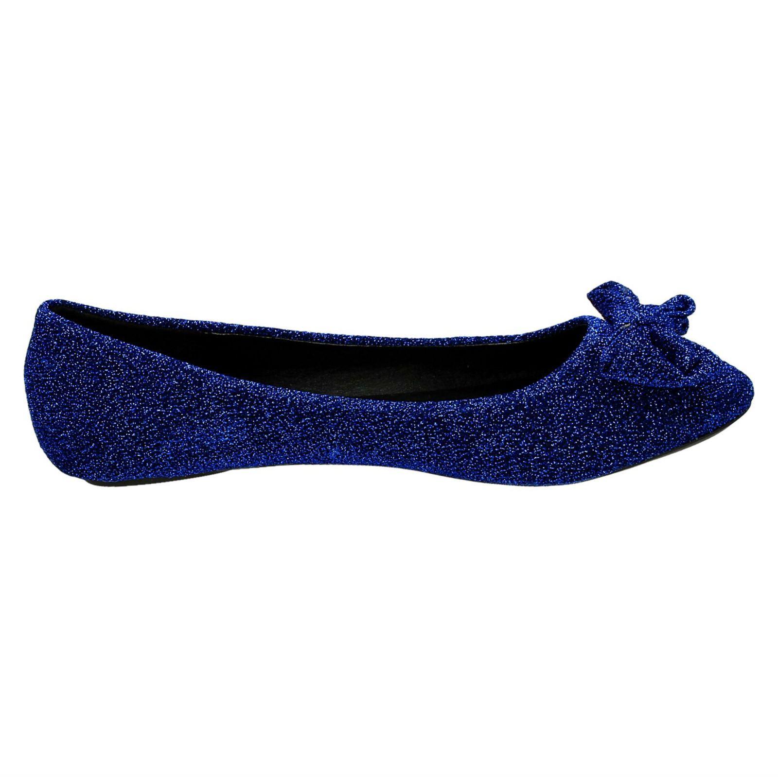 Damas Spot on Flat Sparkle Bailarina Zapatos