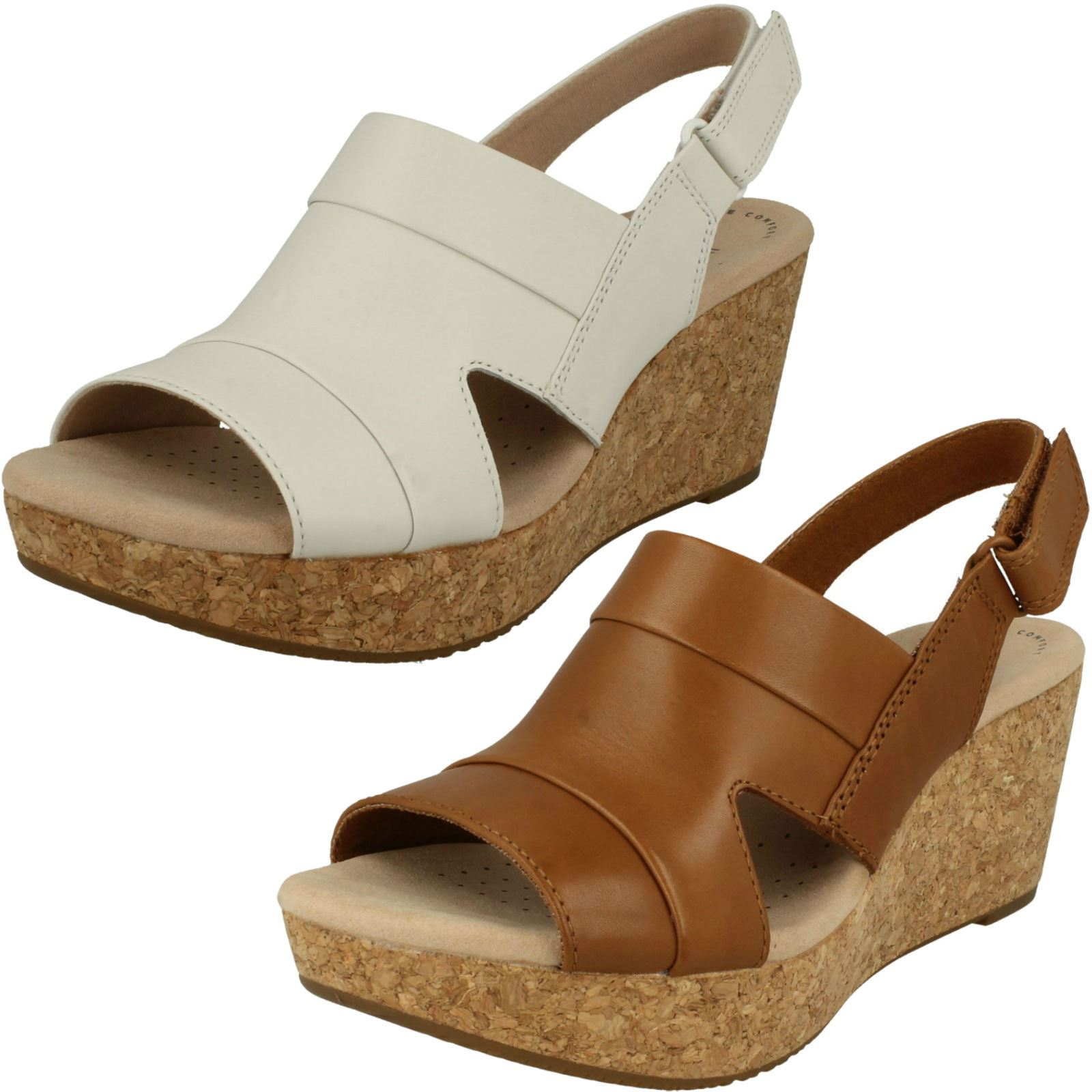 Details about Womens Clarks Wedge Heeled Sandals  Annadel Ivory  547857d7bd