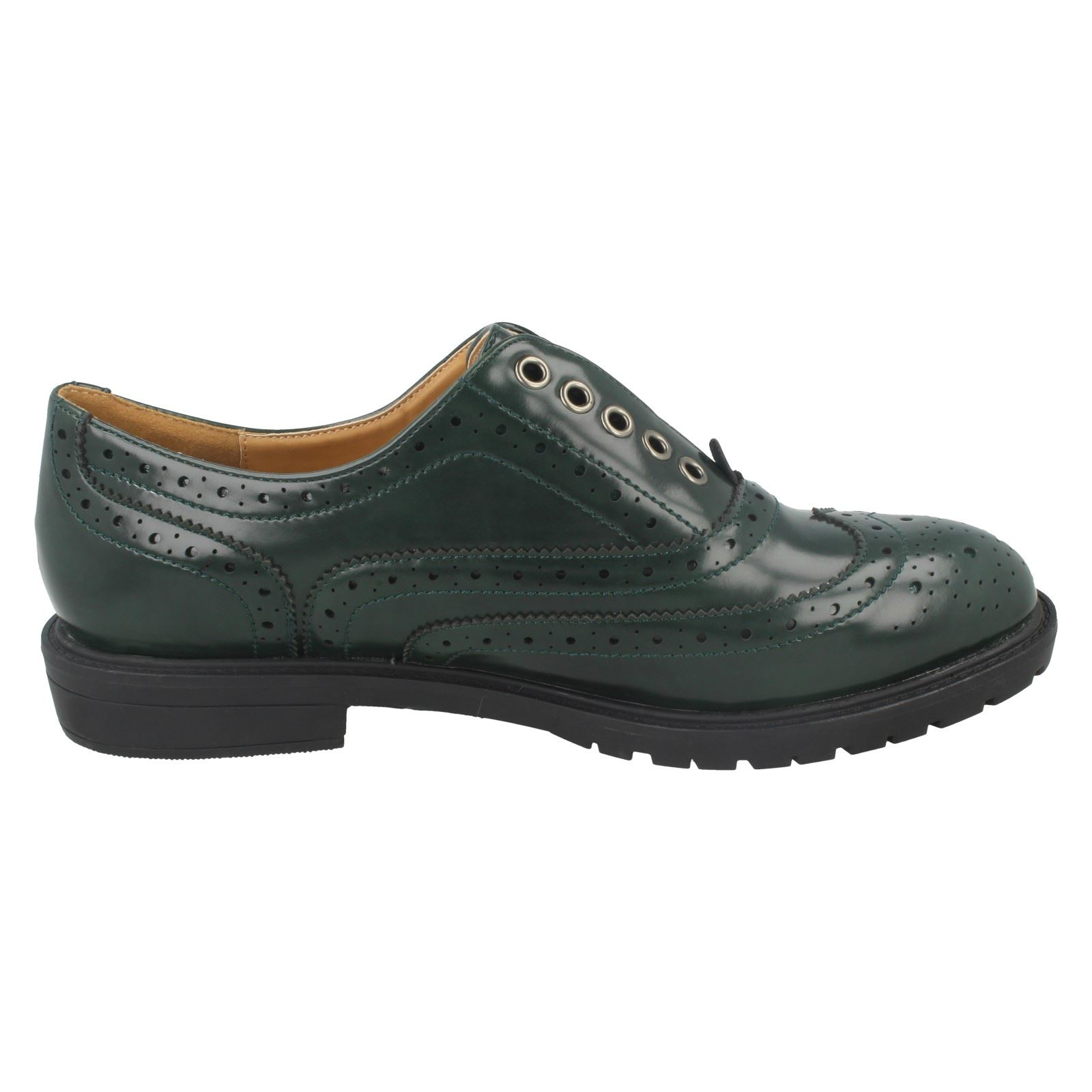 Damas Spot On Brogue Estampado Zapato F9869