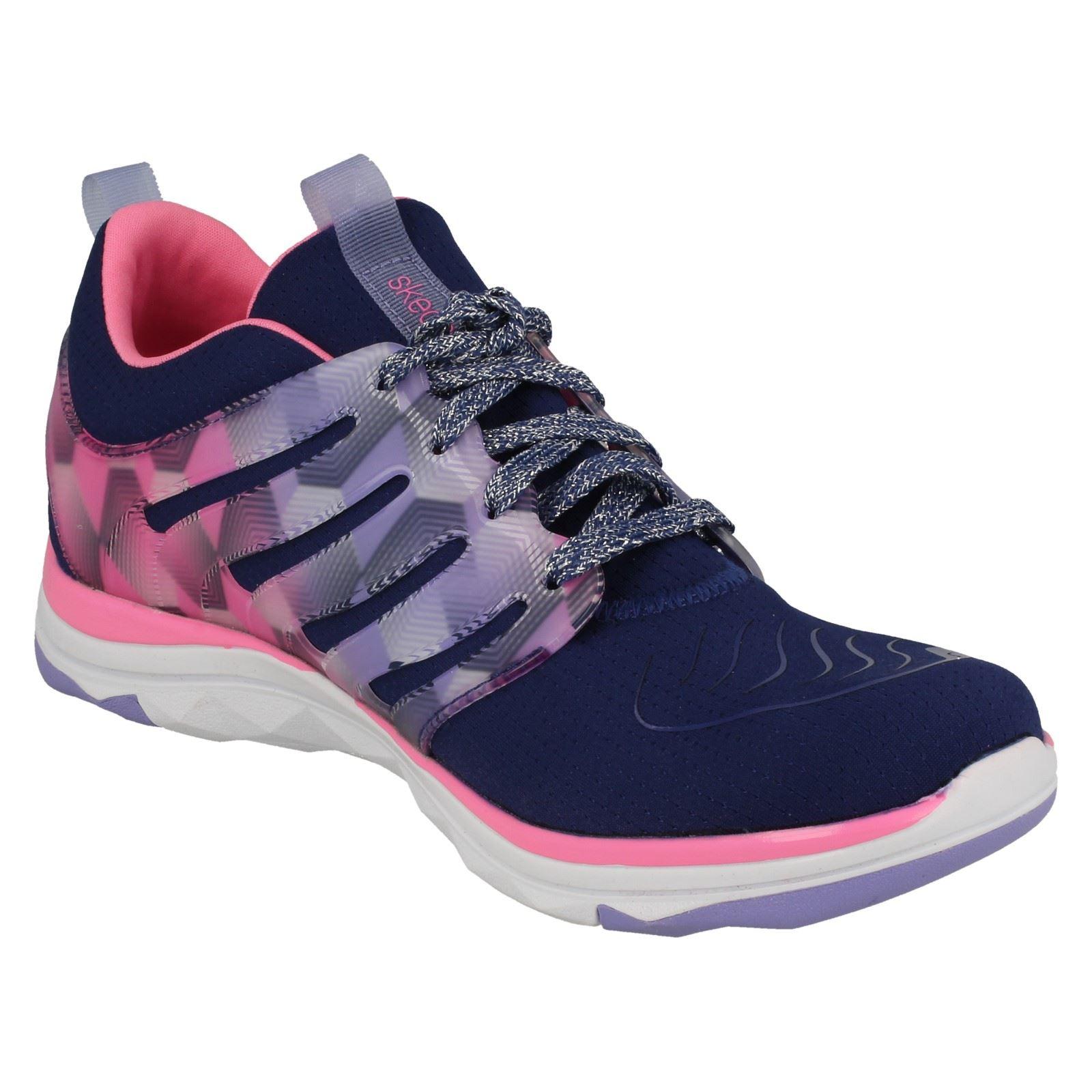 scarpe 81560 Girls Runner ginnastica blu hot Navy Pink Skechers Casual Up da Lace Diamond xInTzfw