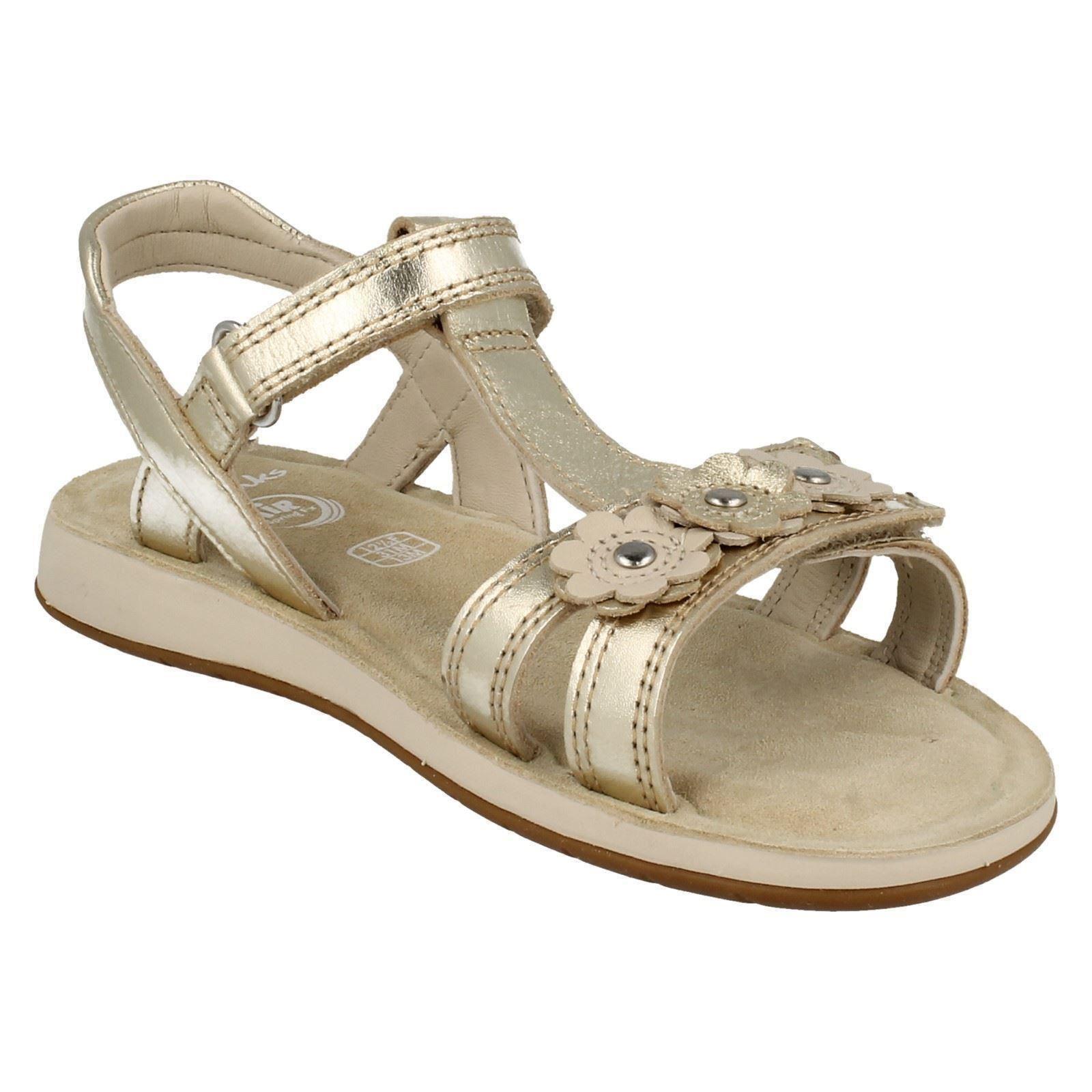 0b568731481 Girls Clarks Sandals With Flower Detail Sea Sally Gold UK 11.5 Kids ...