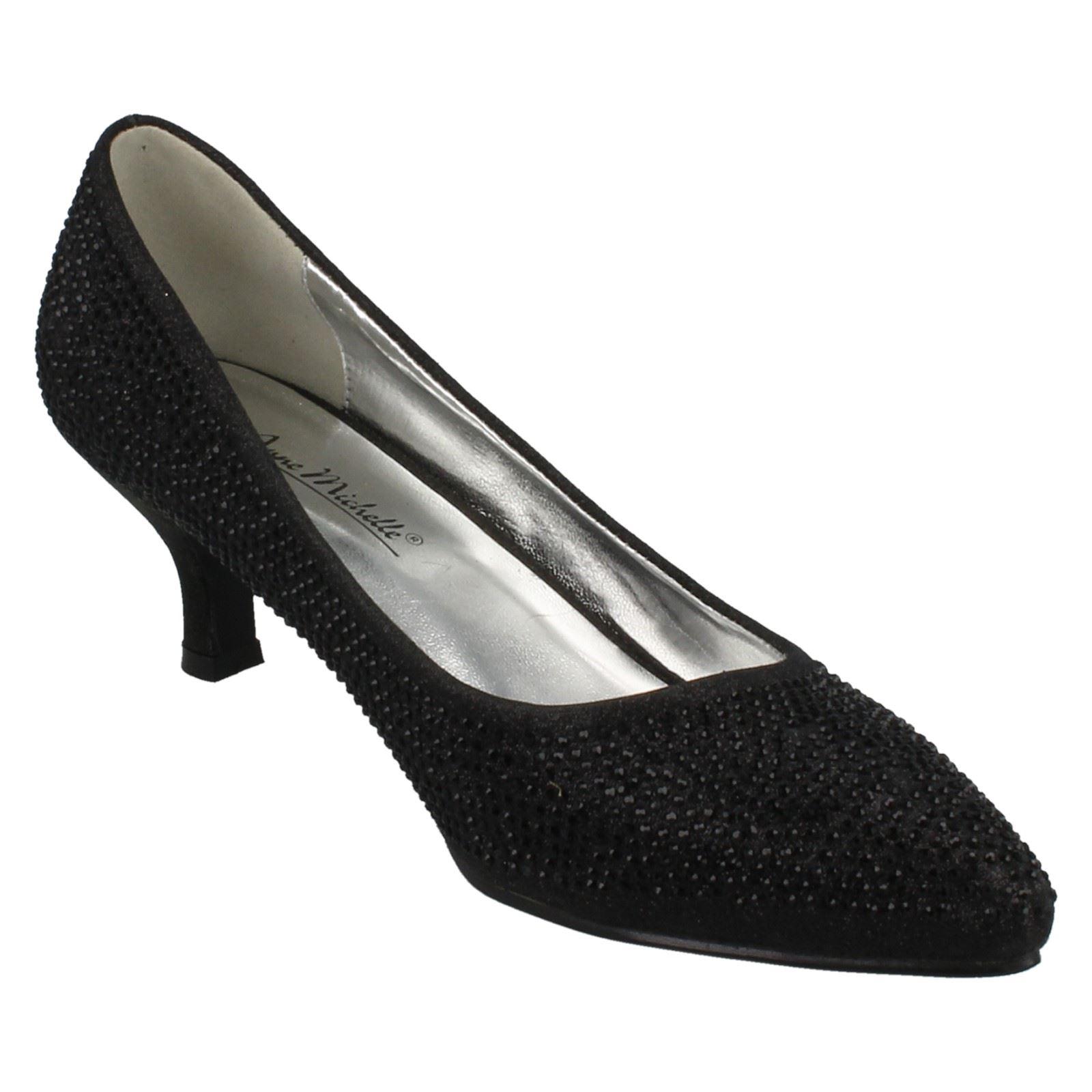 Ladies-Anne-Michelle-Diamante-Low-Heel-Court-Shoes thumbnail 6