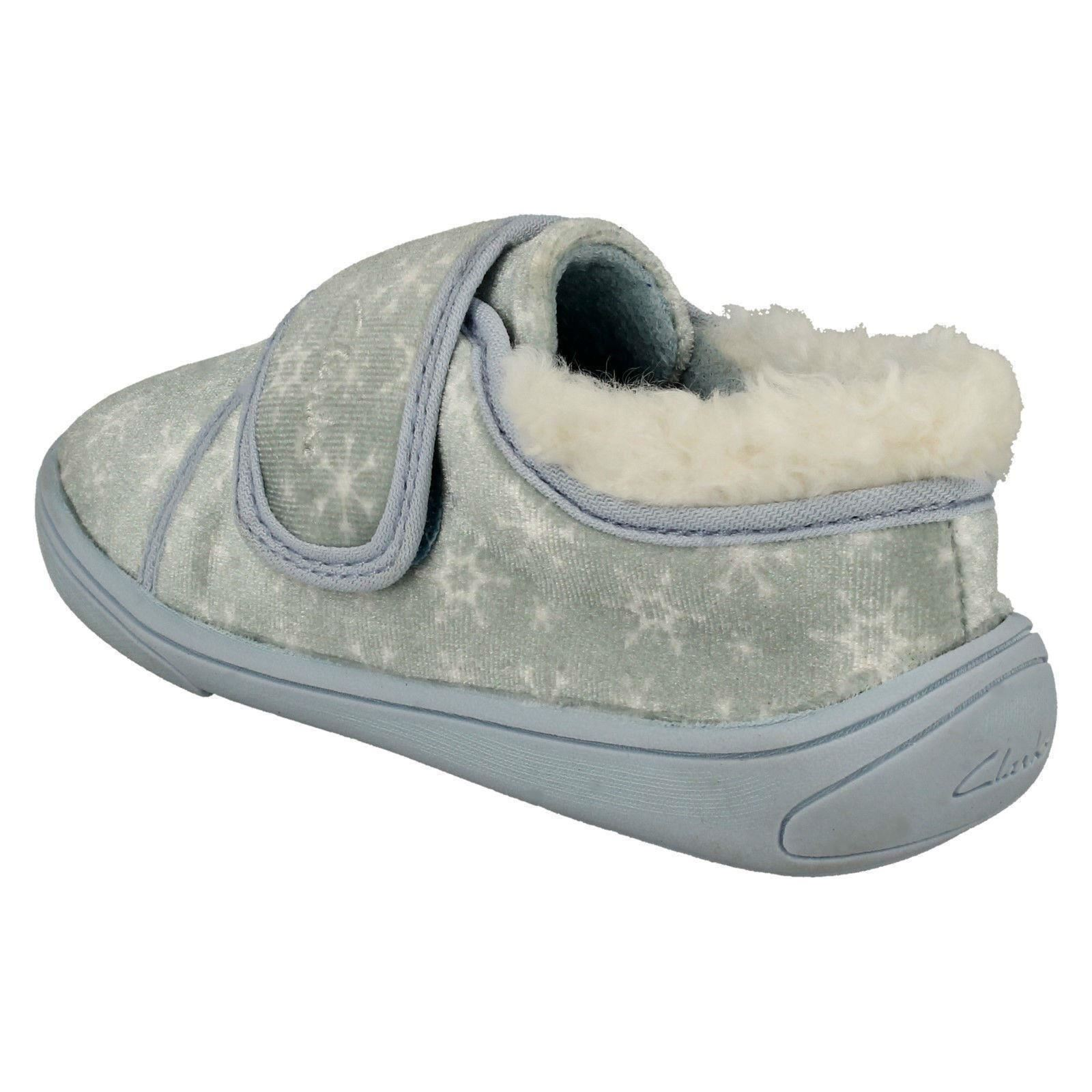 Girls Clarks Snowflake Detailed Frozen II Slippers /'Holmly Ice/'