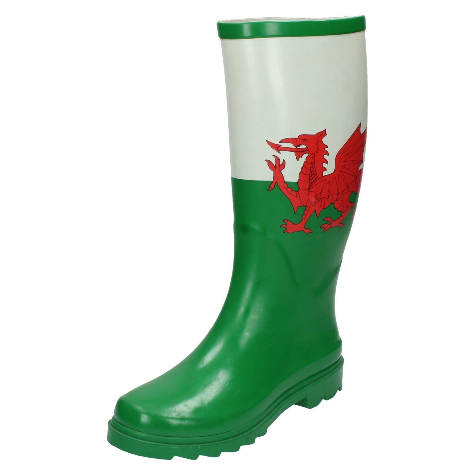 Mujer Spot On Bandera Gales Botas De Agua | eBay