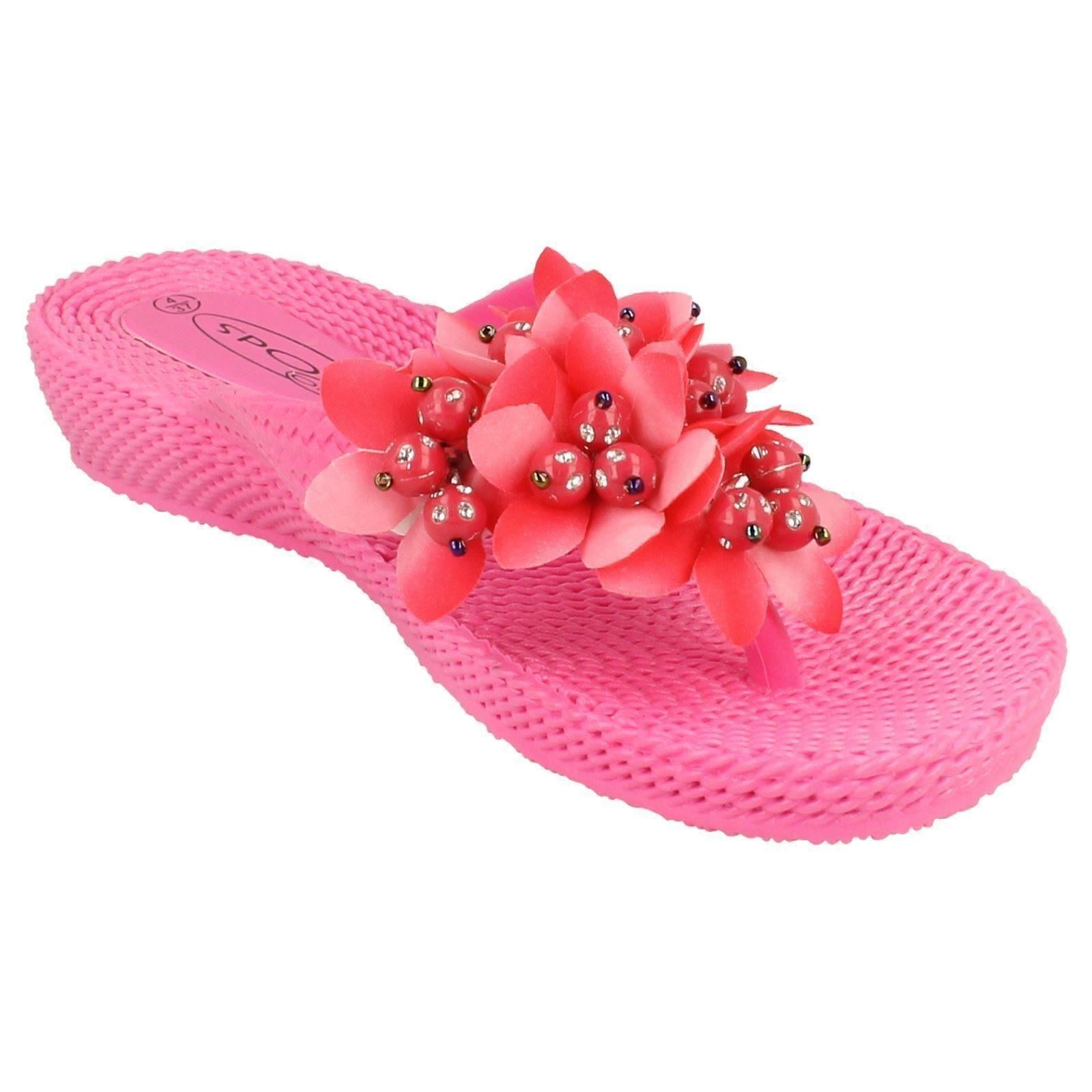 Damas Spot On Sandalias De Cuña Baja Con Detalle Flor Slip On