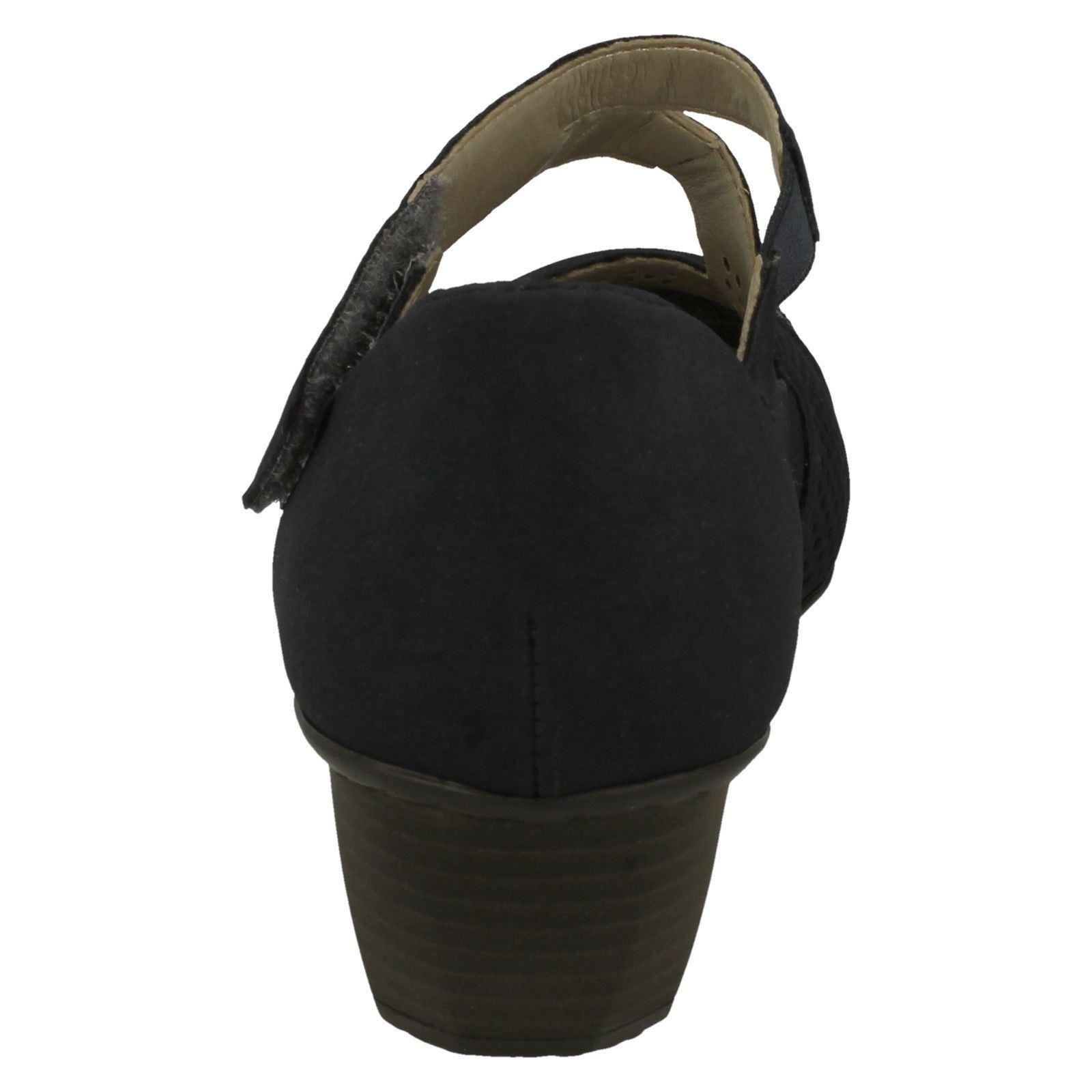 Scarpe Ladies Strap Rounded tacco Materiale Riptape Casual 41743 con Blu Toe Rieker Oq1Oz