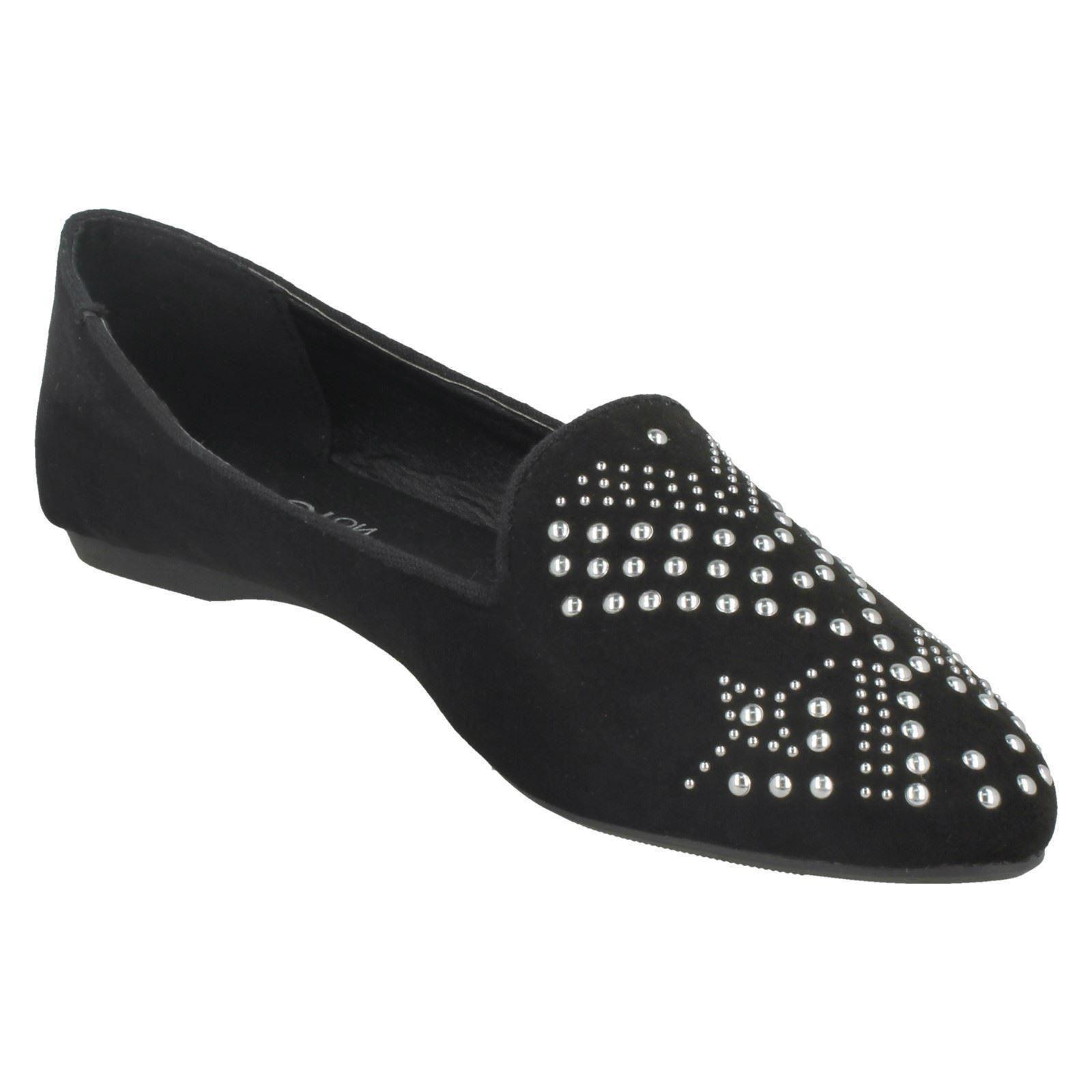 Damas Spot on Diamante Zapatillas Zapatos Bailarina De Corte