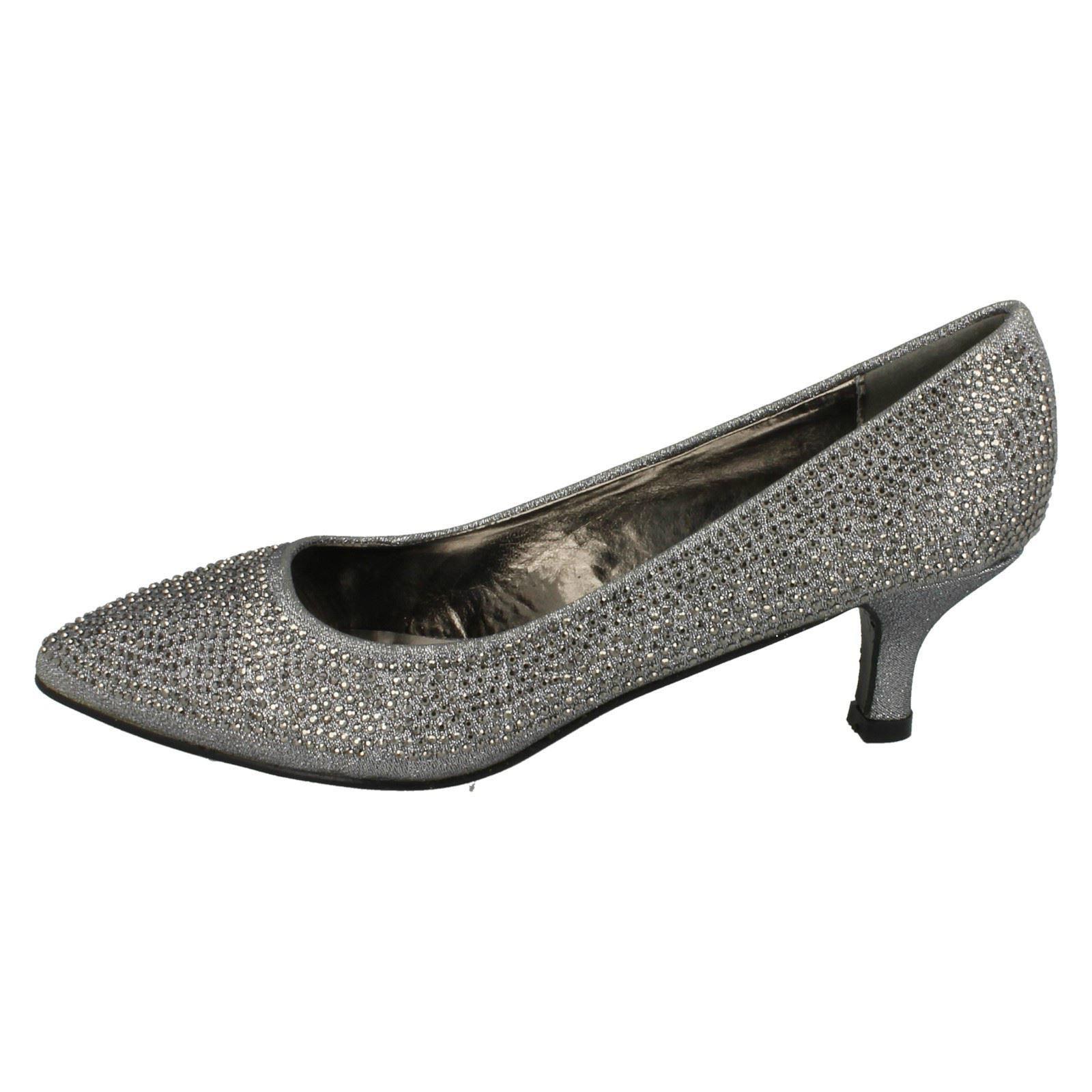 Ladies-Anne-Michelle-Diamante-Low-Heel-Court-Shoes thumbnail 21