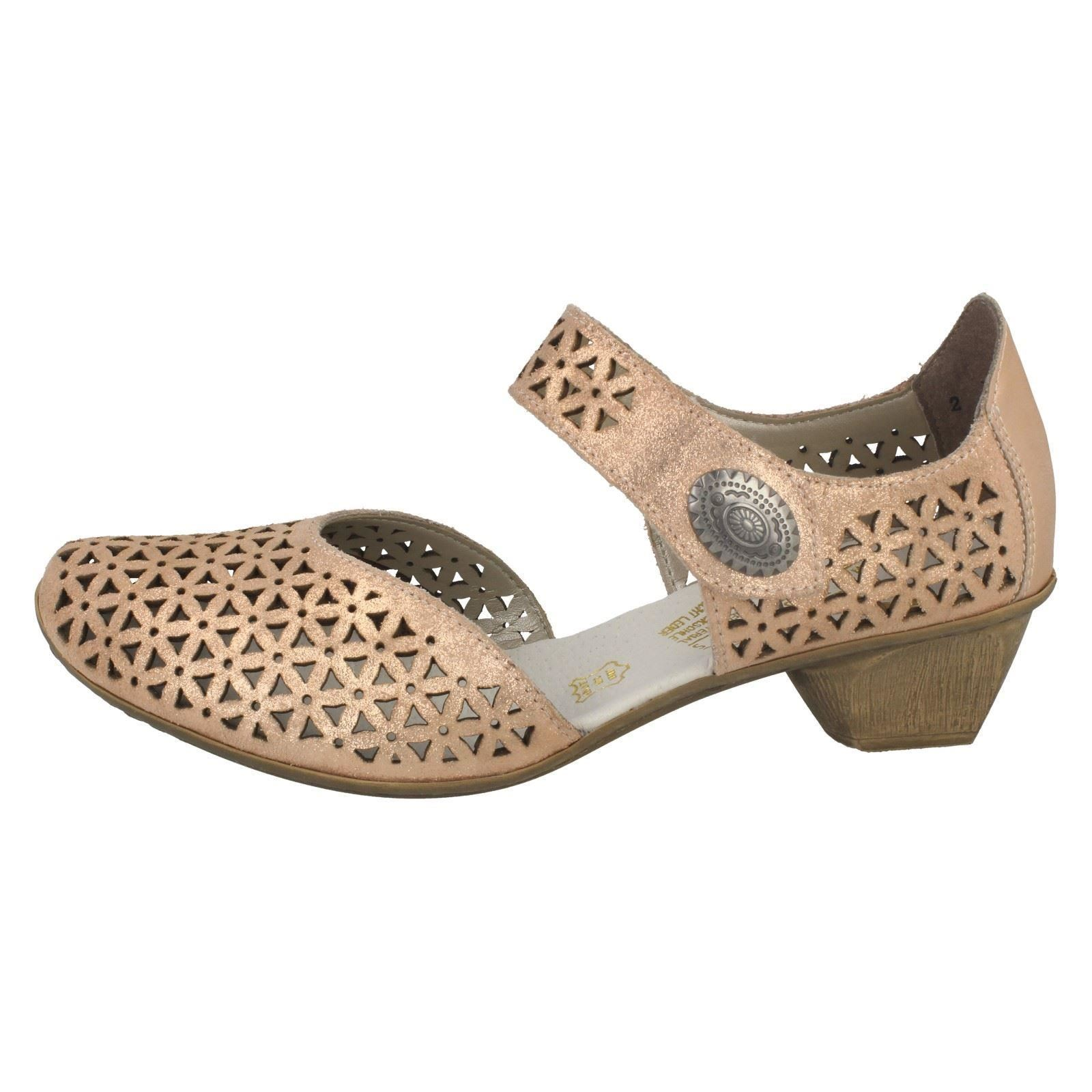 Ladies Rosa Heeled Low gold Rieker Shoe Court 49766 RTzqzxw