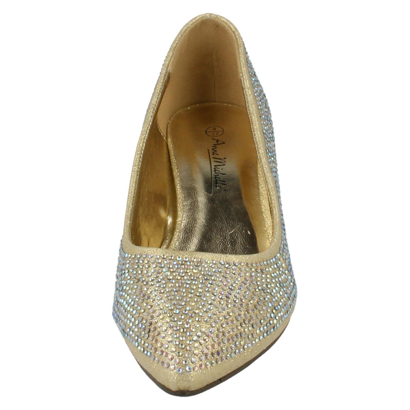 Ladies-Anne-Michelle-Diamante-Low-Heel-Court-Shoes thumbnail 13