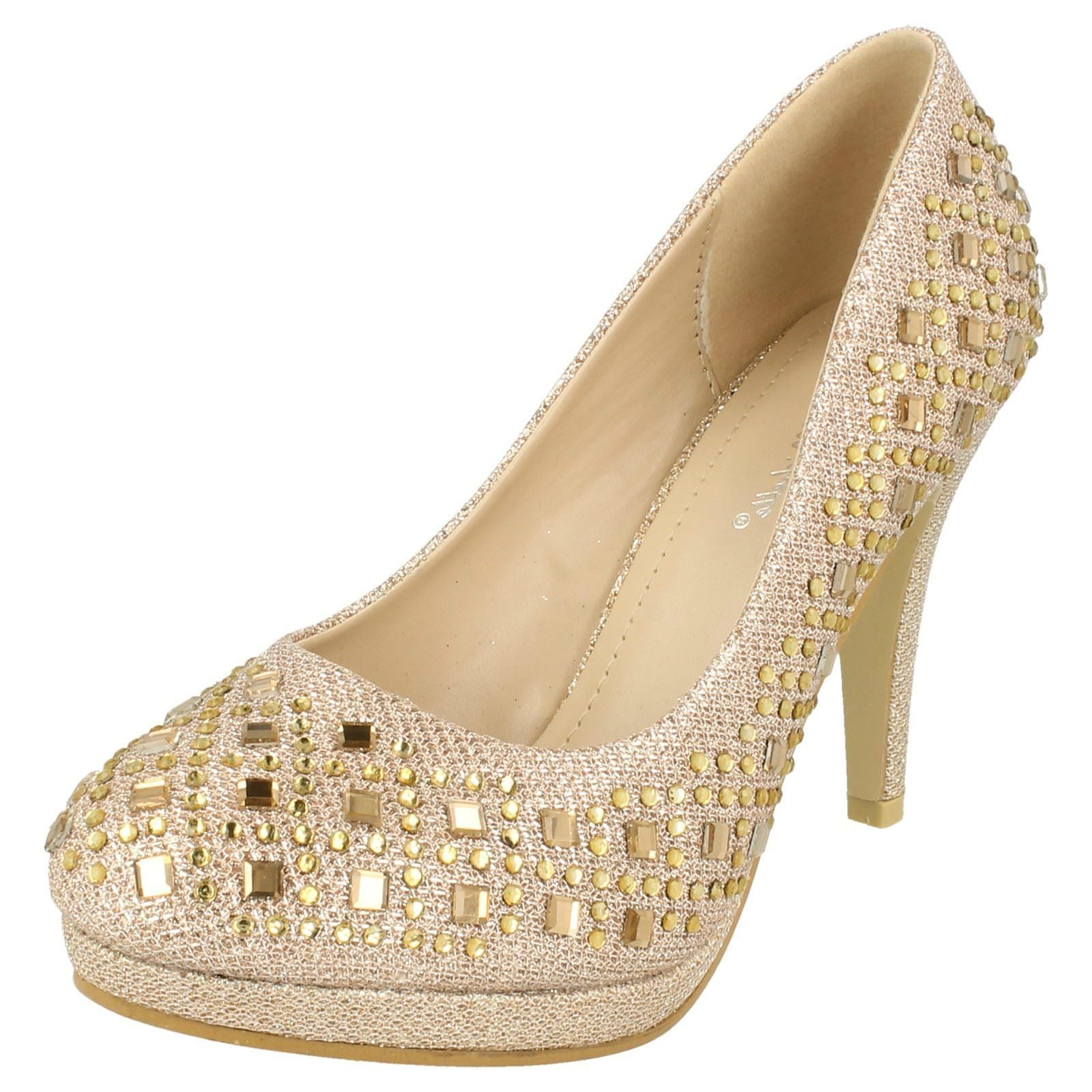 6a9d6137c Ladies Jeweled Court Shoes Anne Michelle F9804 UK 7 Nude gold Textile.  About this product. Picture 1 of 10  Picture 2 of 10 ...