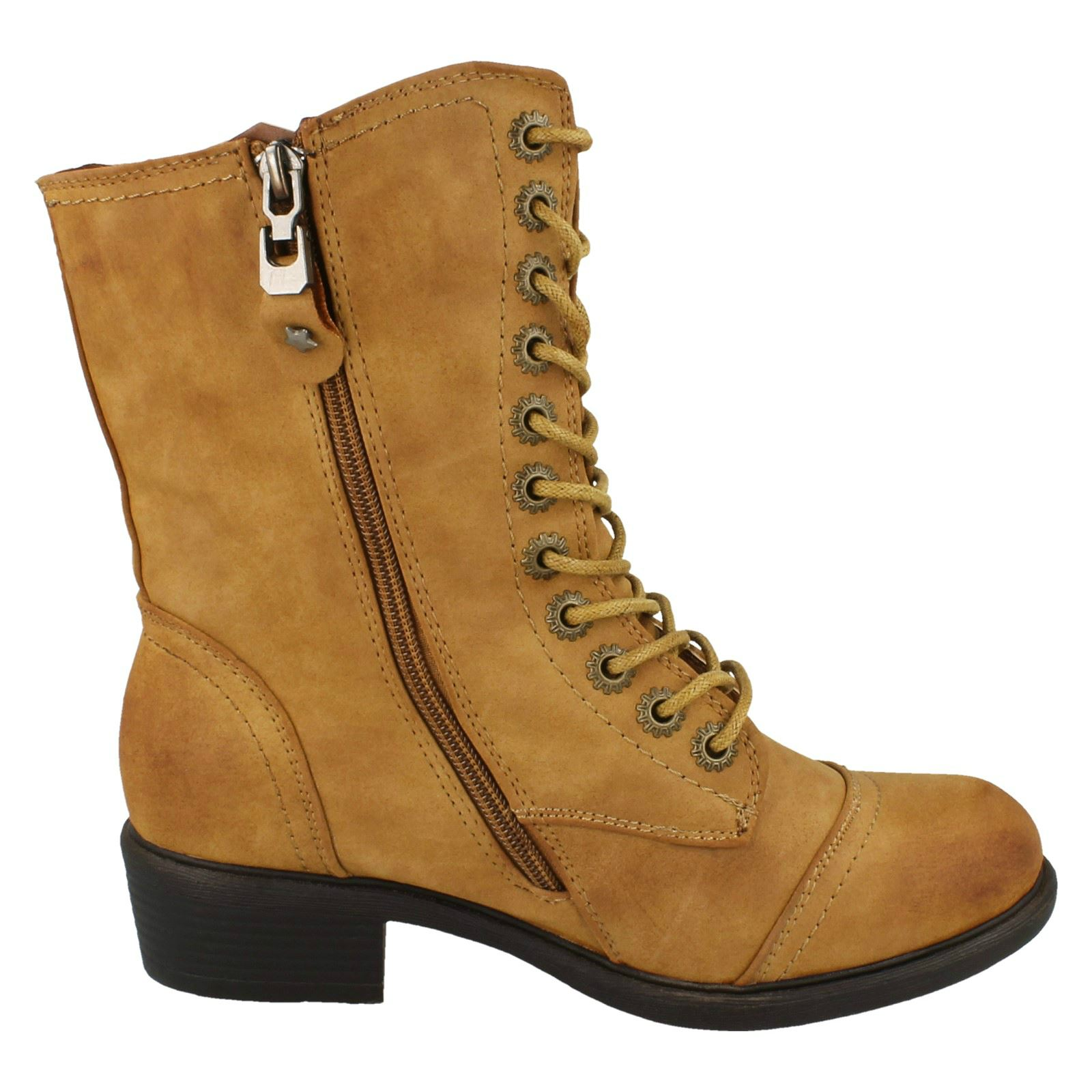 Ankle Boot Ladies Spot On Mid Heel Lace Up