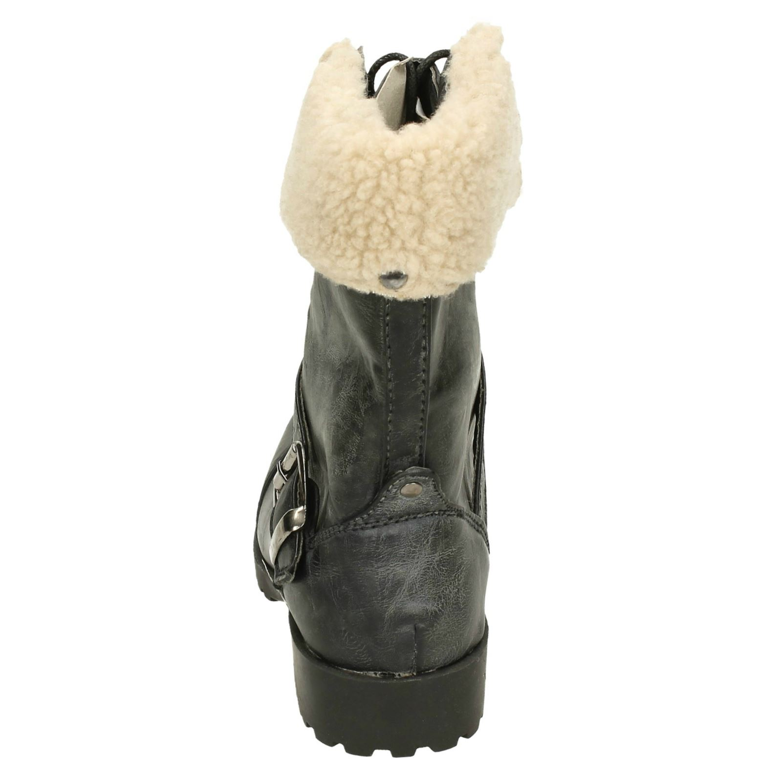 Spot On Girls Fleece Trim Lace Up Boots - H4064