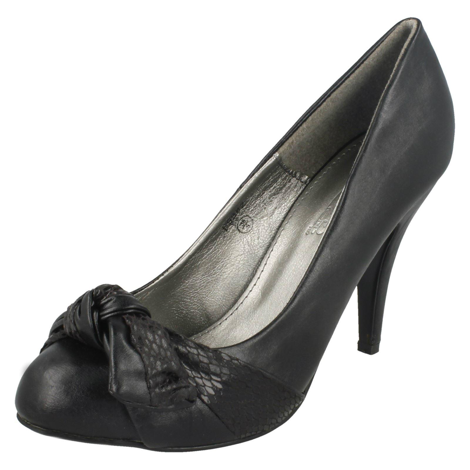 Damas Spot On Tacón Alto Tribunal Zapatos