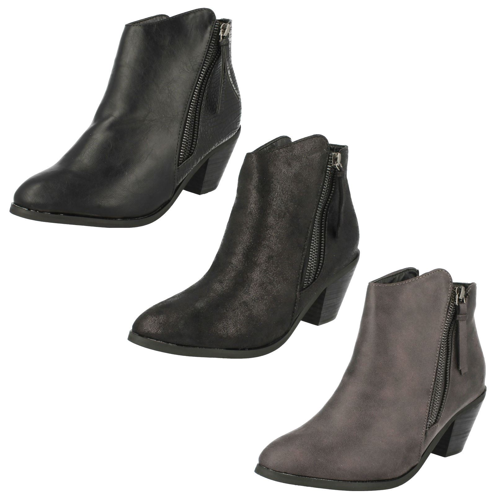 Ladies Spot On Cowboy Style Ankle Boots with Zip Detail