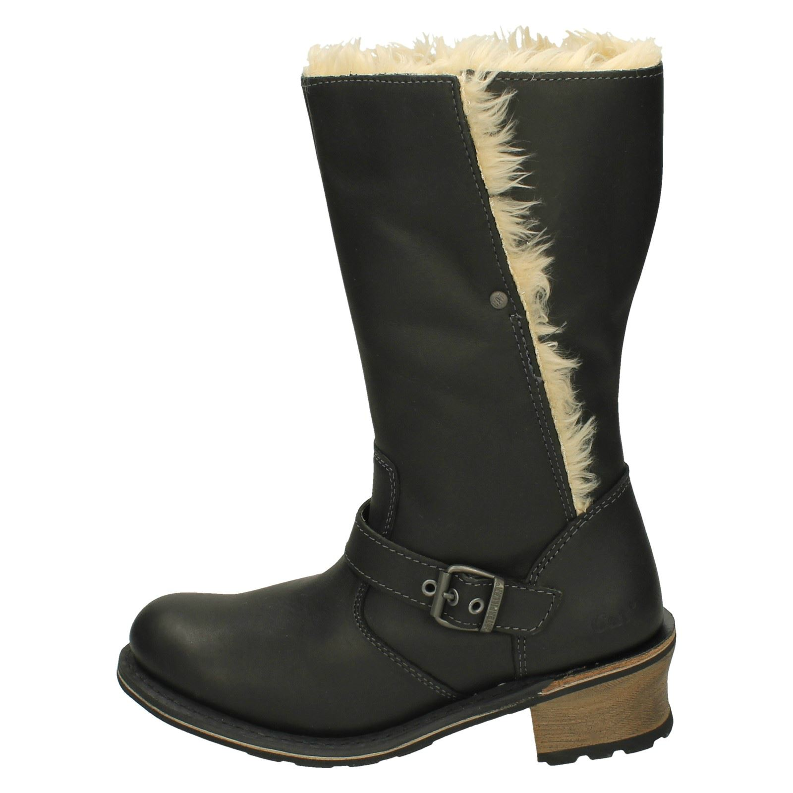 Anna Heeled Caterpillar Boots Ladies Black qwtHZB
